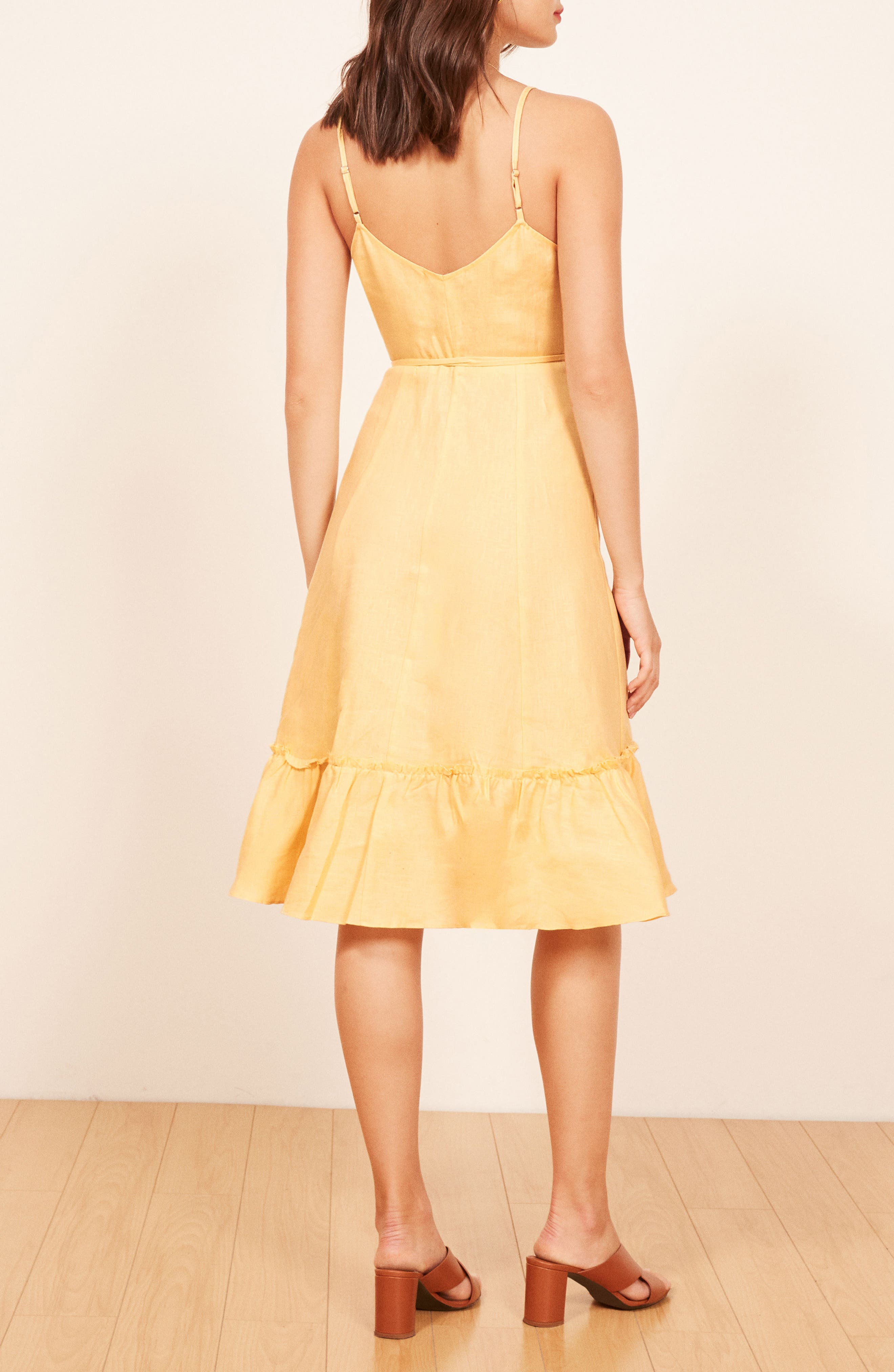 Fig Linen Wrap Dress,                             Alternate thumbnail 2, color,                             700