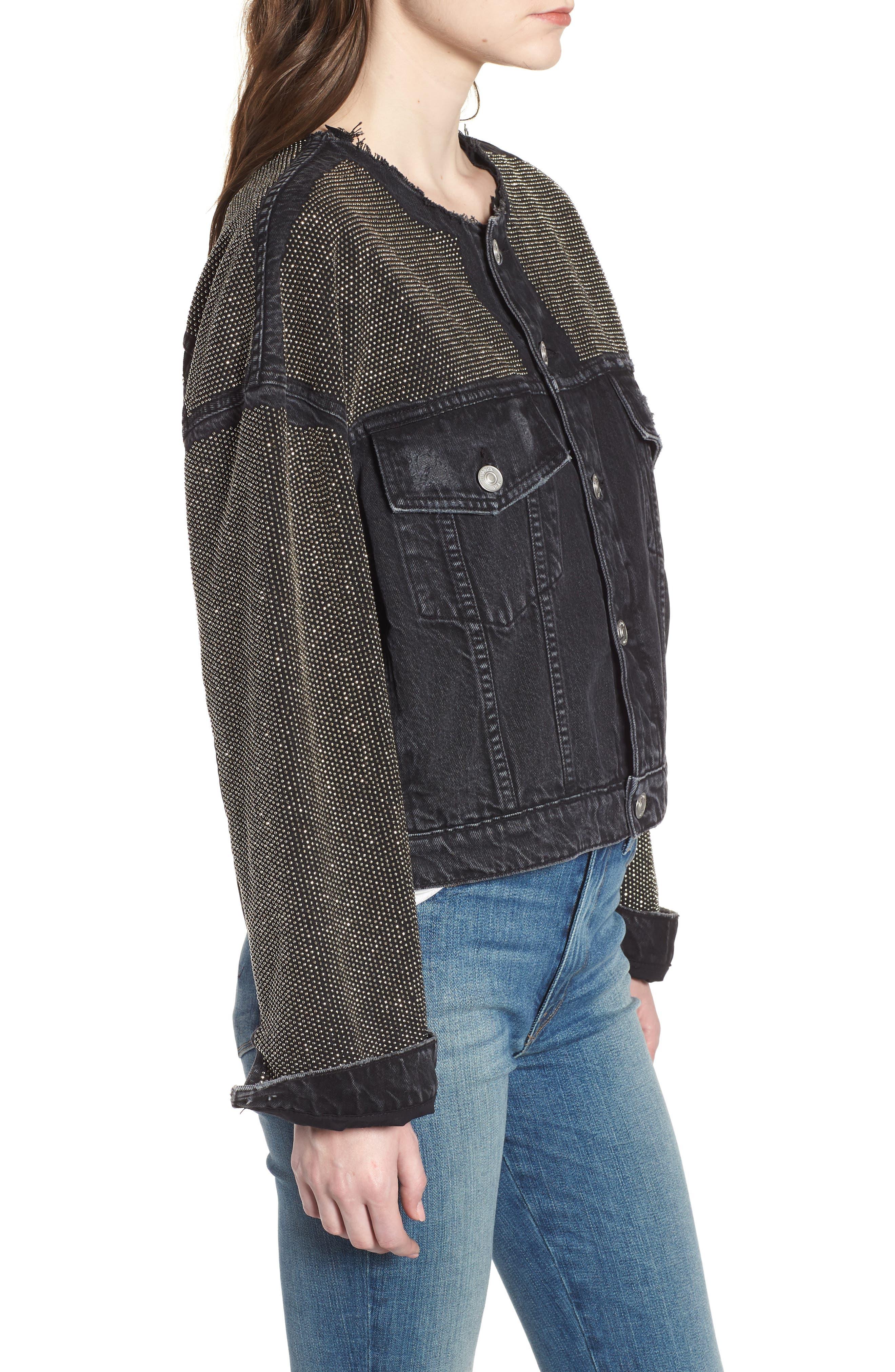 Rei Studded Crop Denim Jacket,                             Alternate thumbnail 3, color,                             001