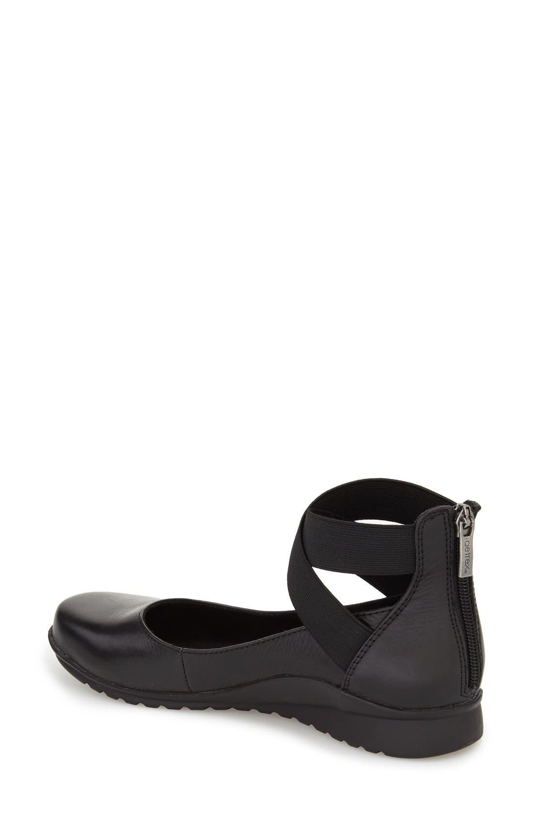 AETREX,                             'Dakota' Ankle Strap Ballet Flat,                             Alternate thumbnail 2, color,                             BLACK LEATHER