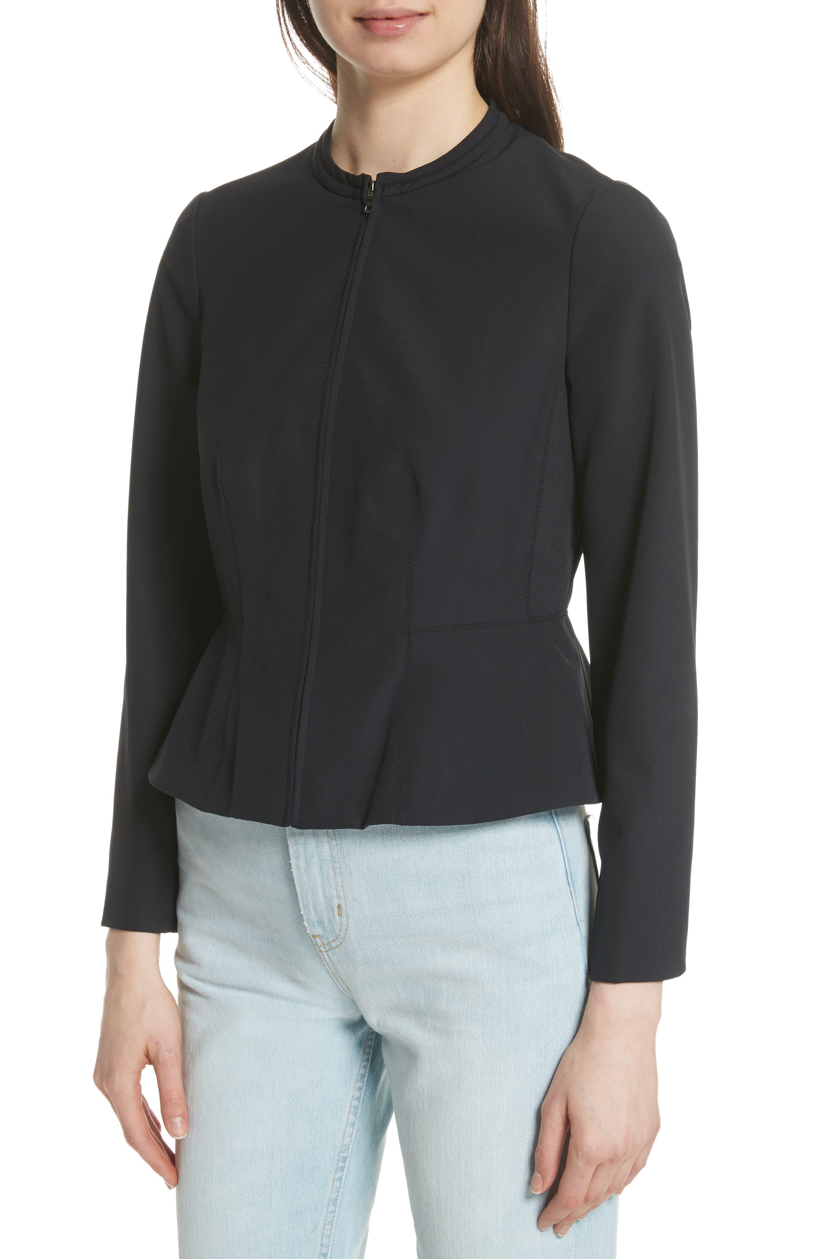 Ava Peplum Jacket,                             Alternate thumbnail 4, color,                             BLACK
