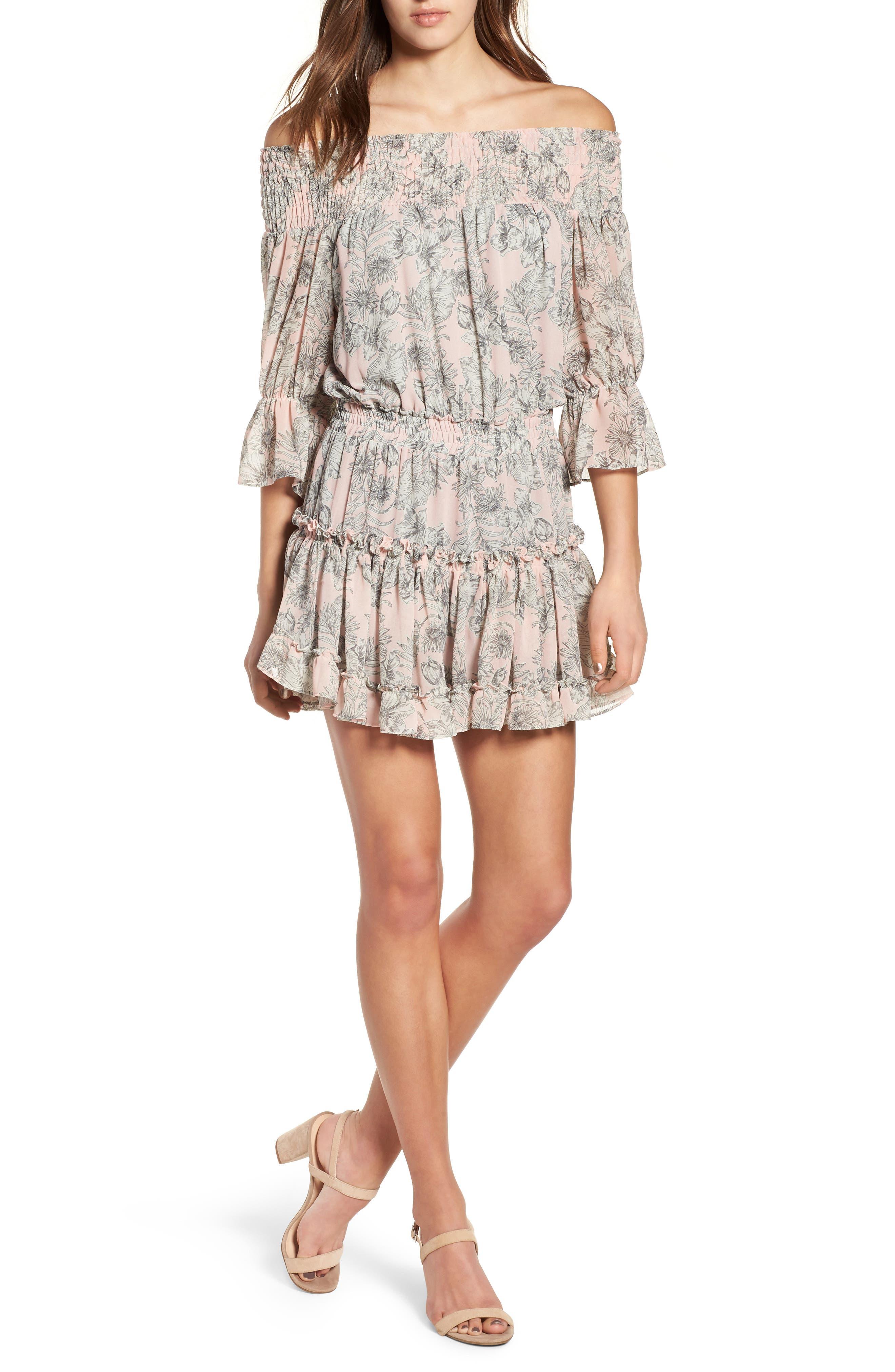 MISA LOS ANGELES Geroux Off the Shoulder Blouson Dress, Main, color, 650
