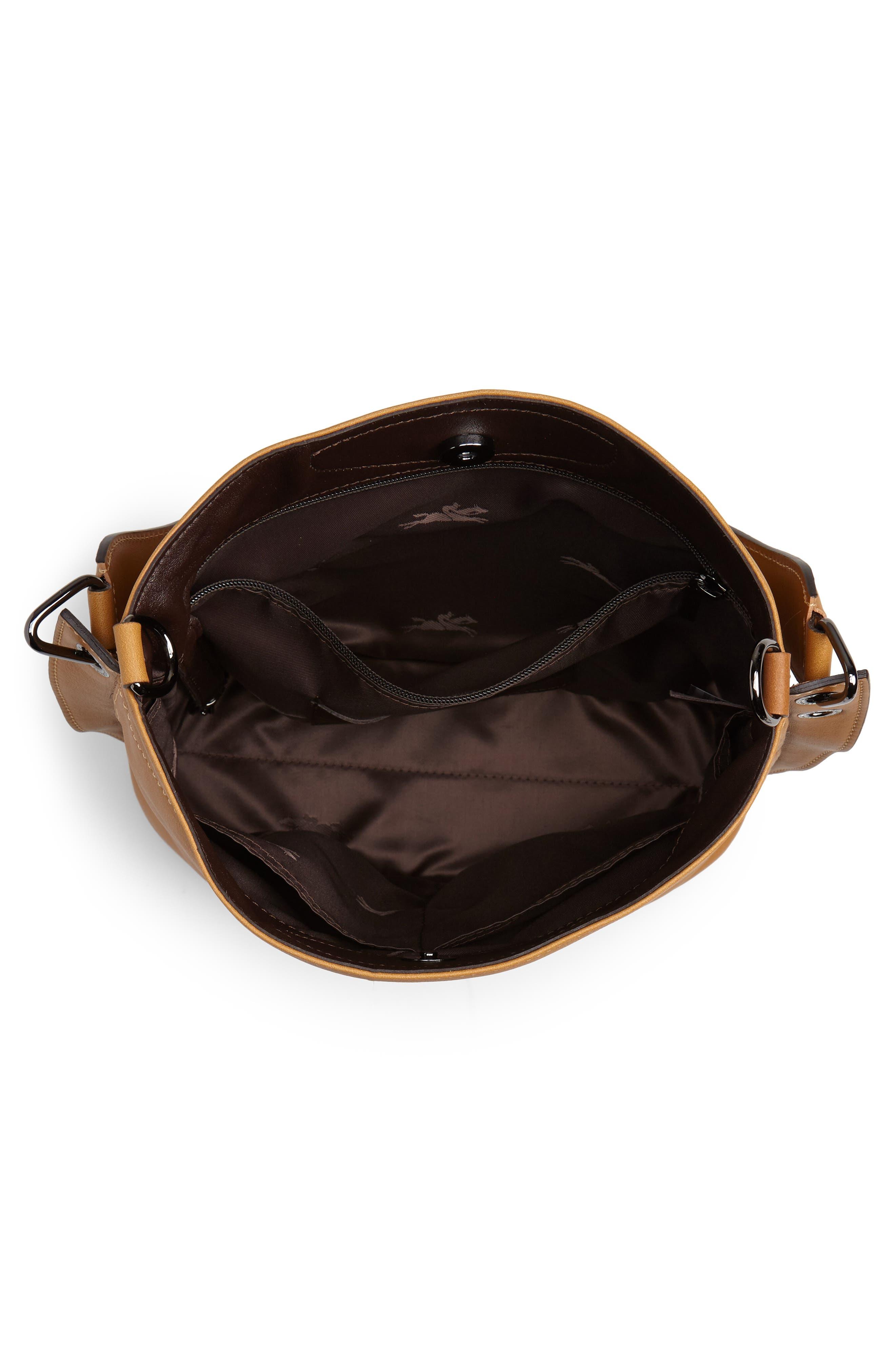 3D Leather Bucket Bag,                             Alternate thumbnail 4, color,                             NATURAL