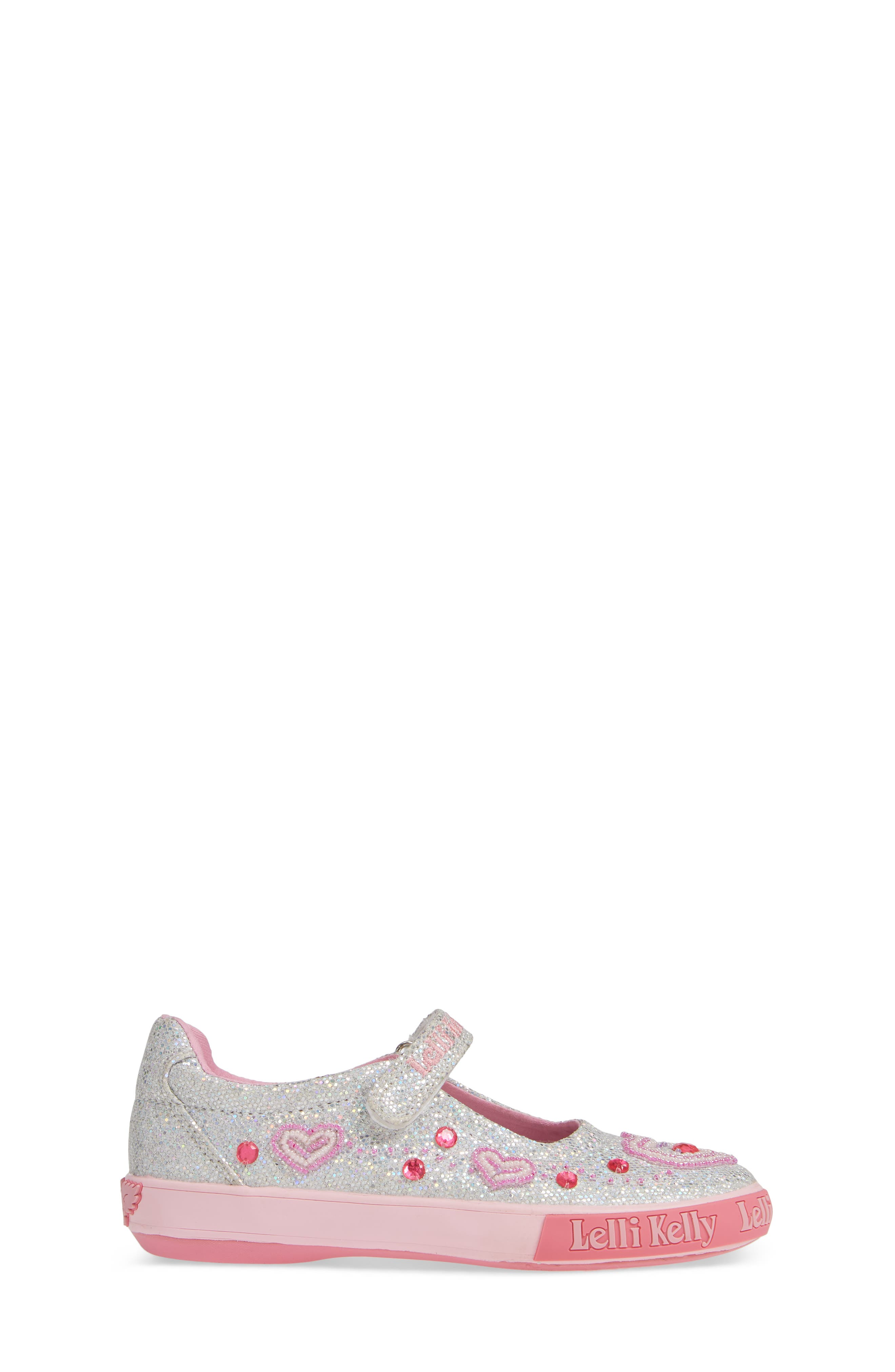 Beaded Heart Glitter Mary Jane Sneaker,                             Alternate thumbnail 3, color,                             SILVER