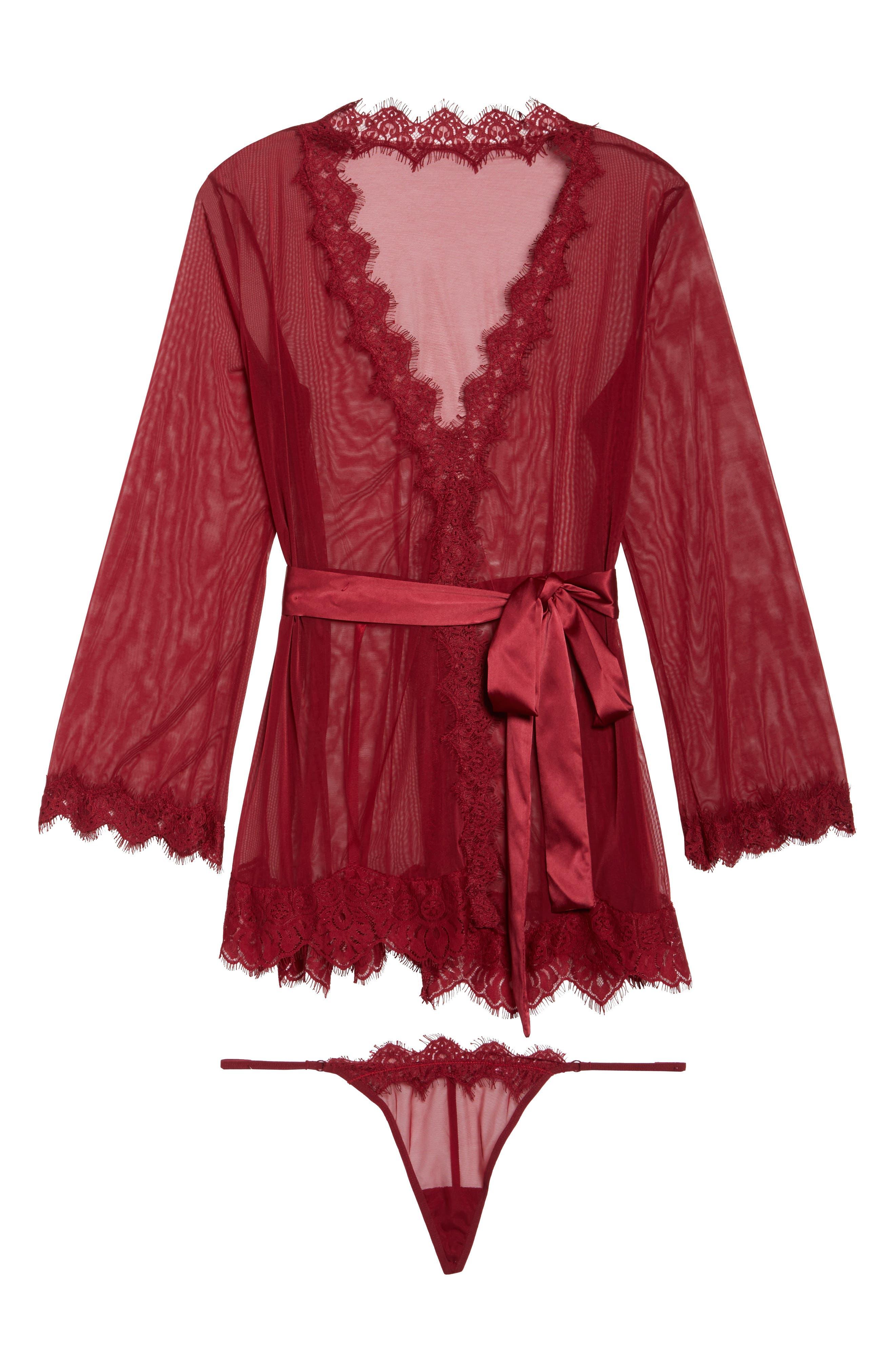 Eyelash Lace Robe & G-String,                             Alternate thumbnail 25, color,