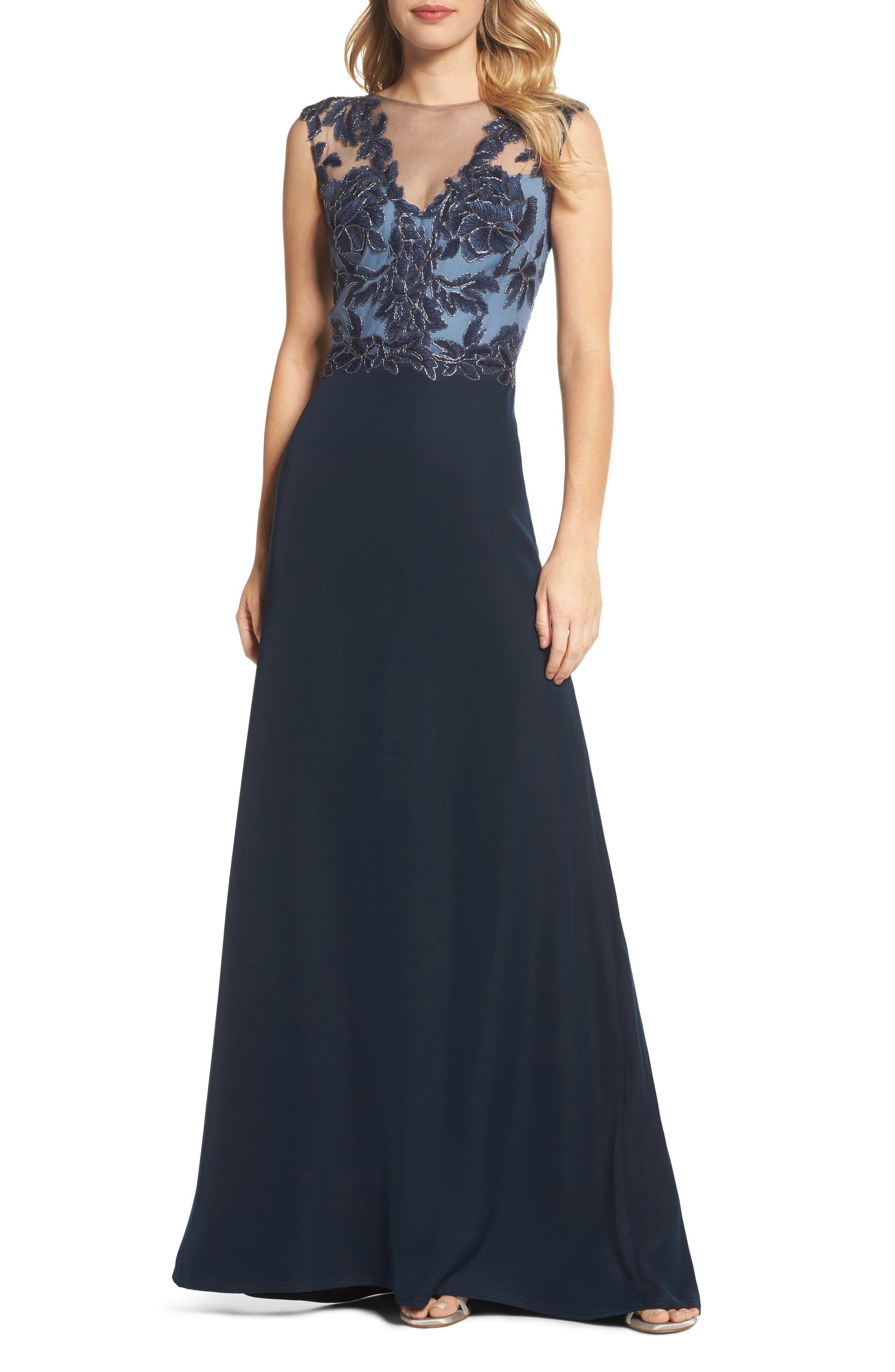 Embroidered Mesh & Crepe Gown,                         Main,                         color, 466