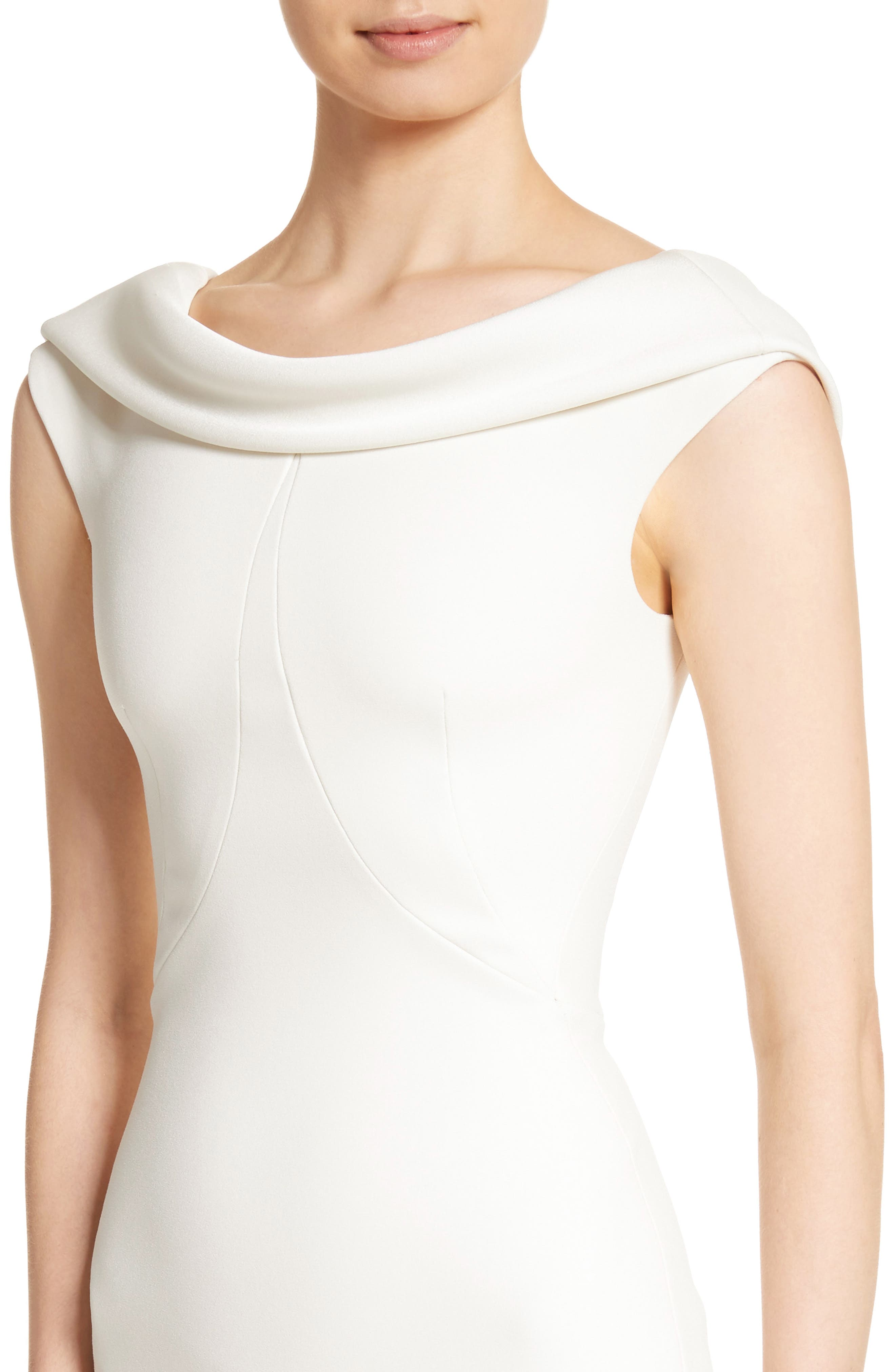 Bonded Crepe Cowl Neck Sheath Dress,                             Alternate thumbnail 4, color,                             IVORY