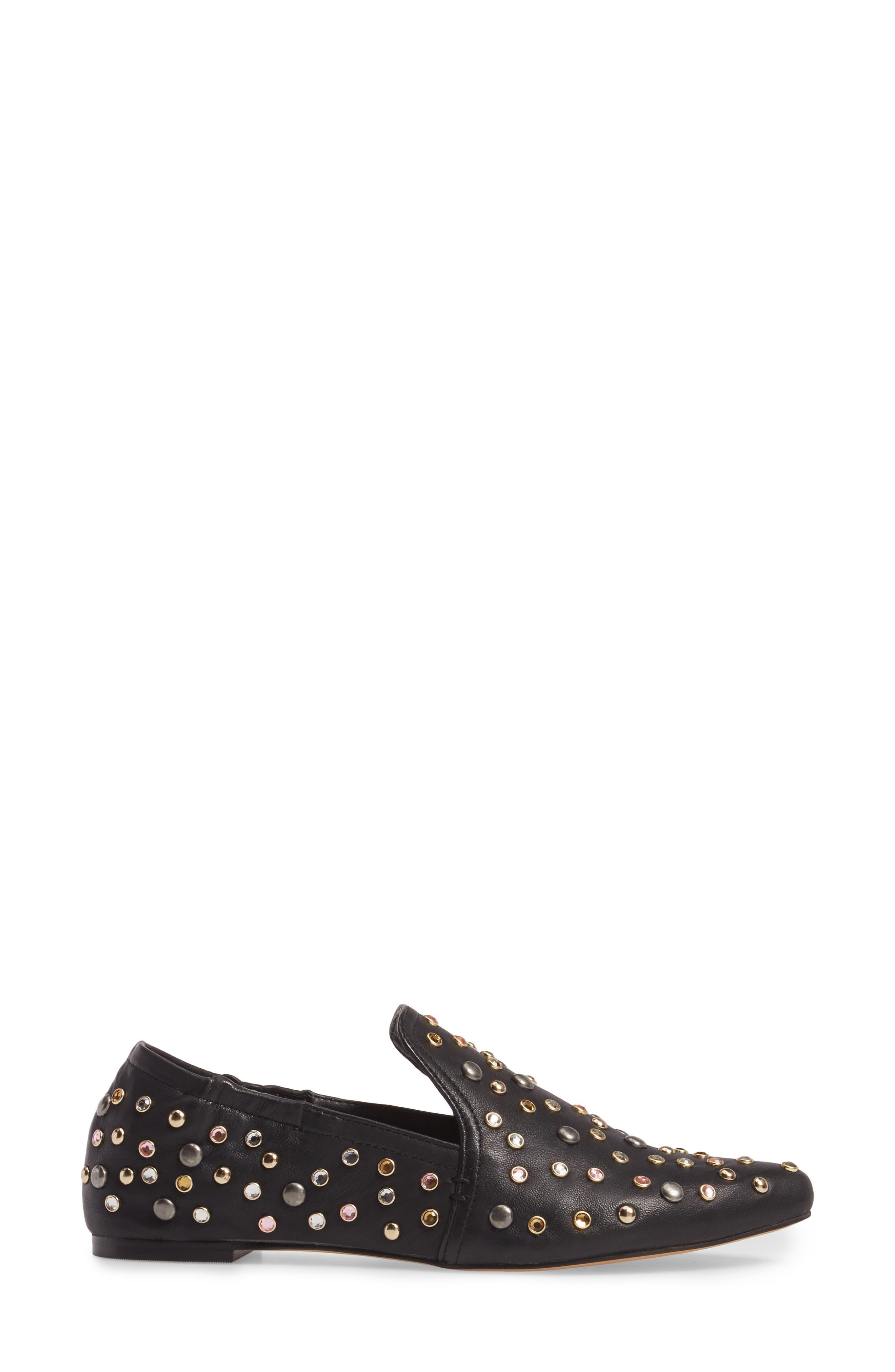Hamond Stud Embellished Loafer Flat,                             Alternate thumbnail 3, color,                             001