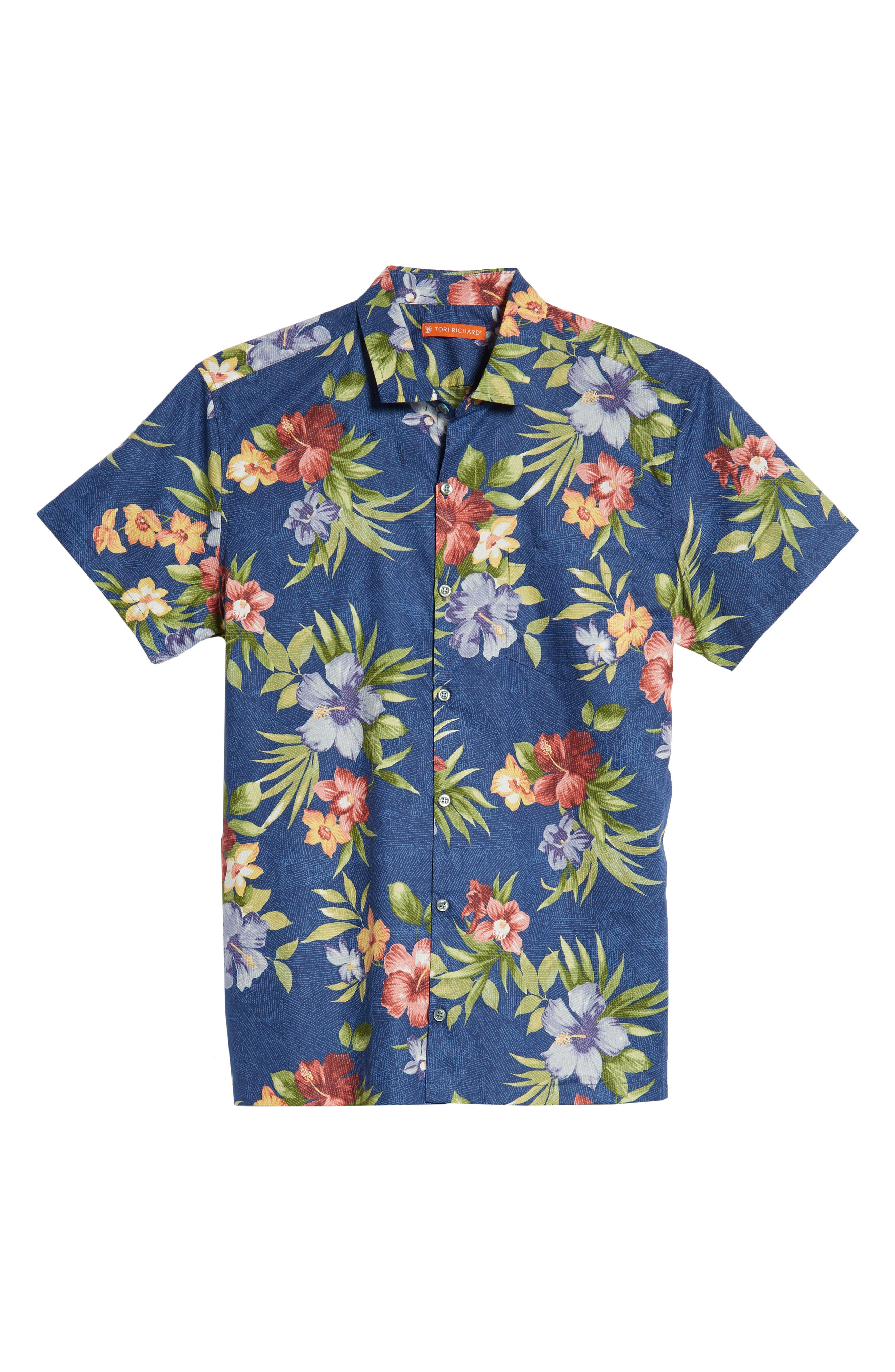 TORI RICHARD,                             Tropical Filter Trim Fit Camp Shirt,                             Alternate thumbnail 5, color,                             415