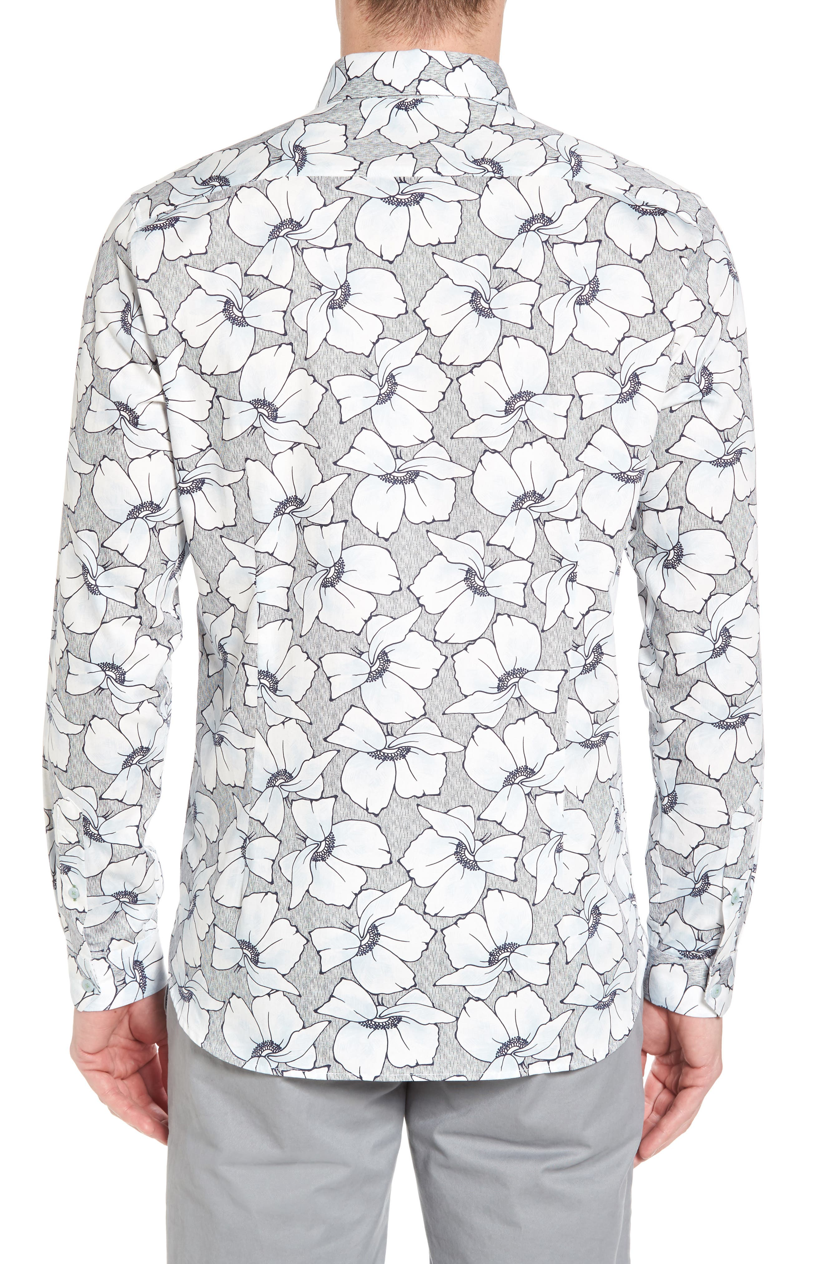 Ligflo Trim Fit Floral Print Sport Shirt,                             Alternate thumbnail 2, color,                             450
