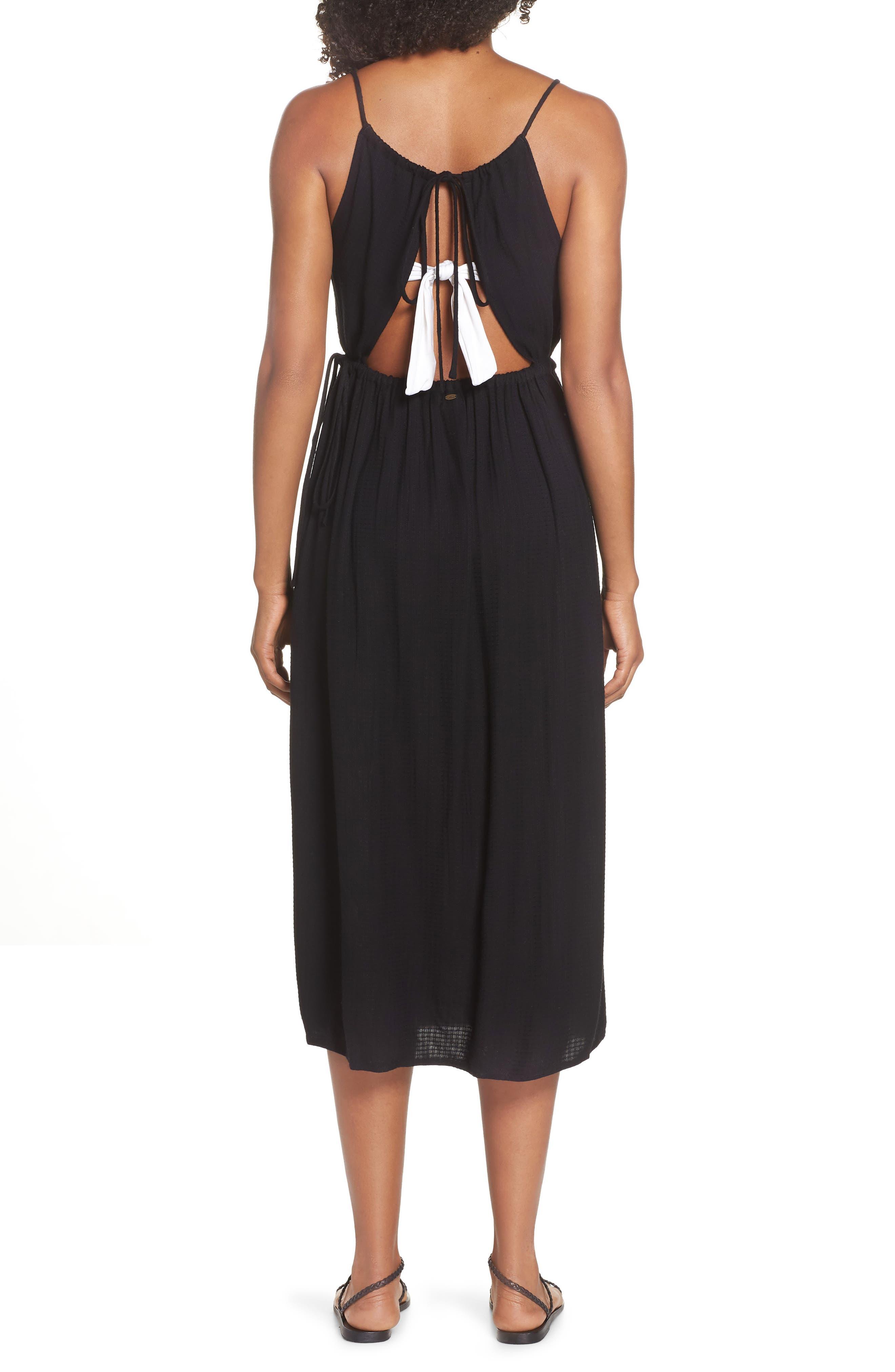 Cory Open Back Cover-Up Midi Dress,                             Alternate thumbnail 2, color,                             BLACK