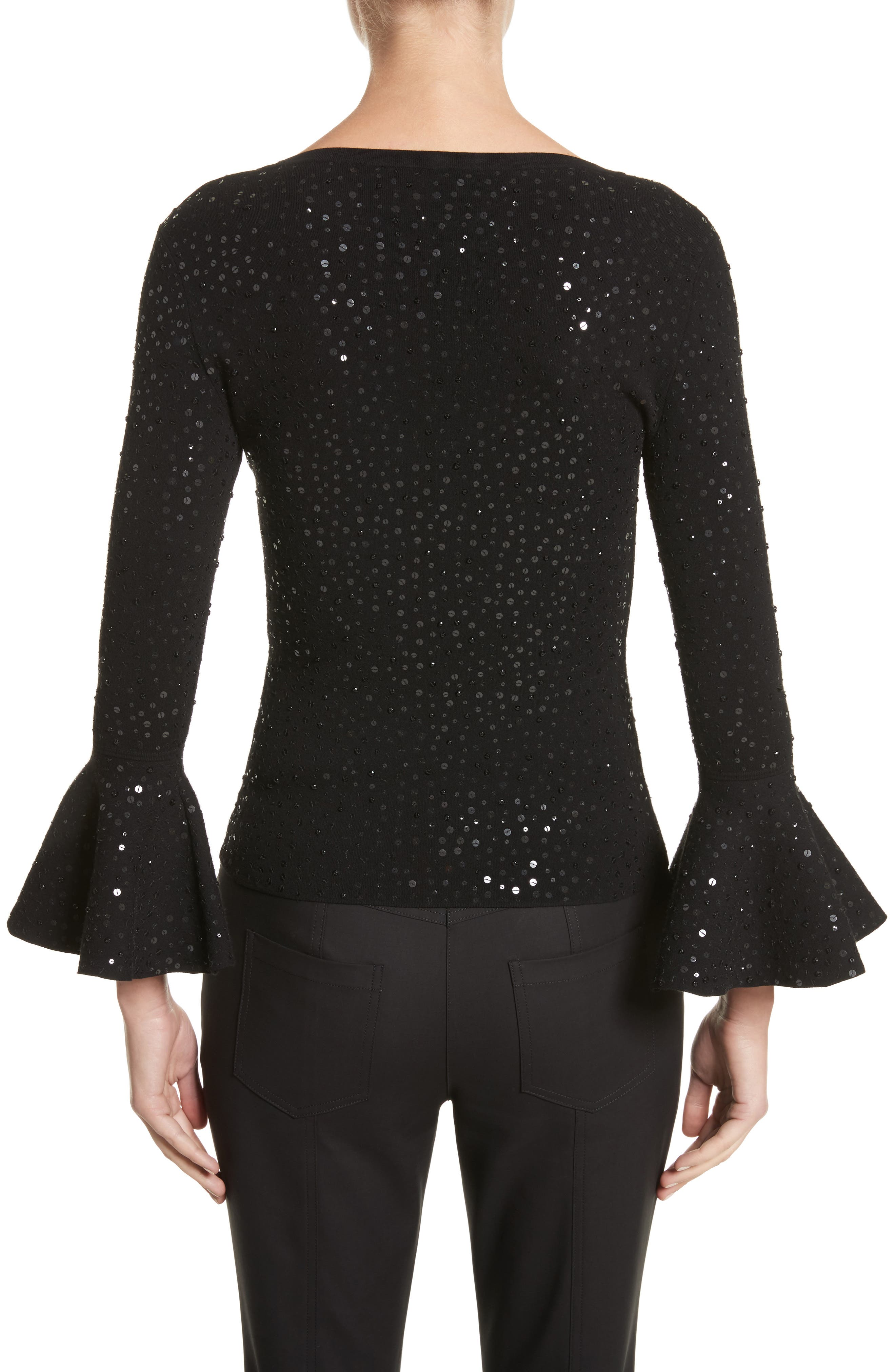 Sequin Bell Sleeve Top,                             Alternate thumbnail 2, color,                             001