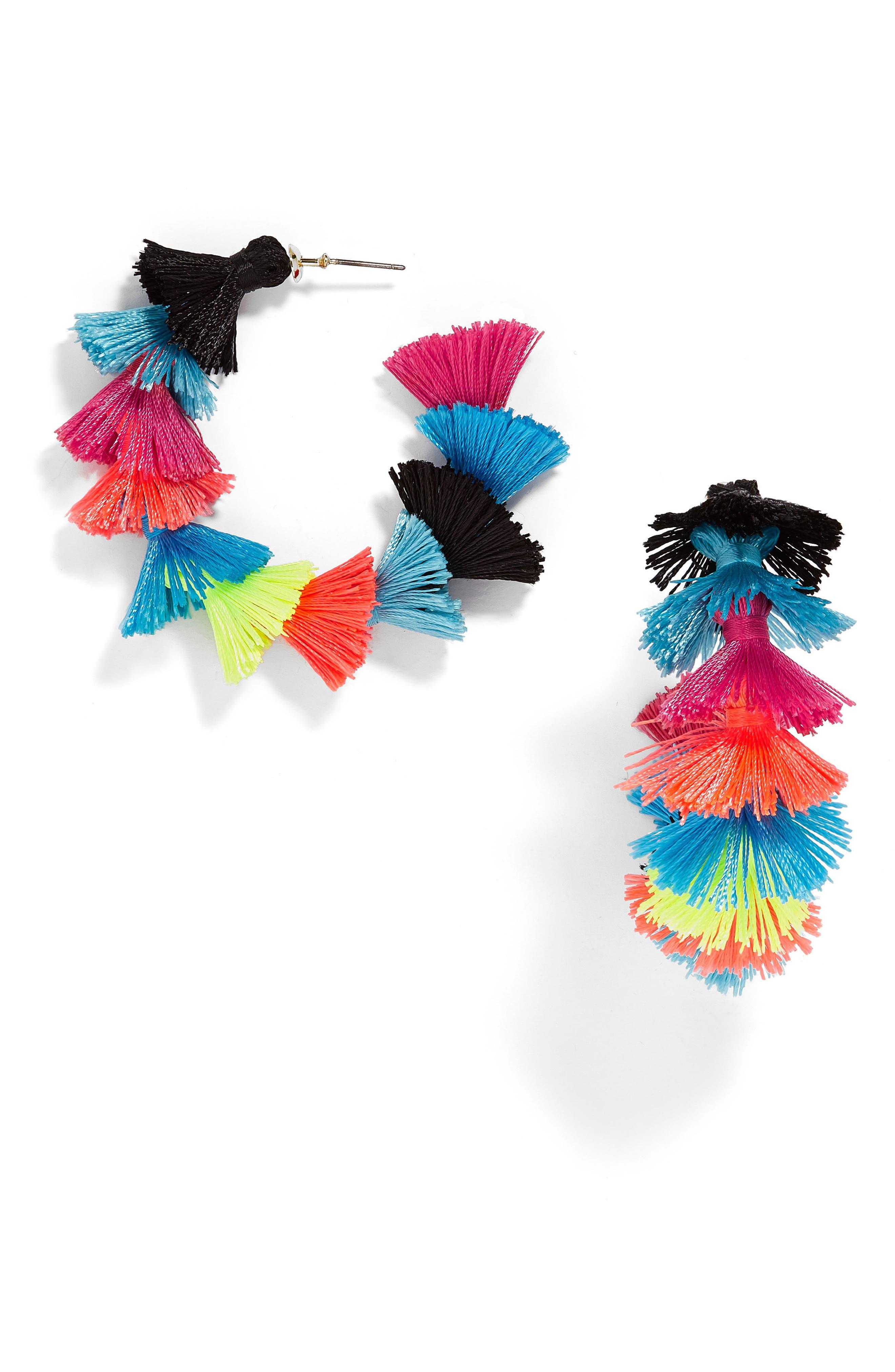 Santina Tasseled Hoop Earrings,                             Main thumbnail 1, color,