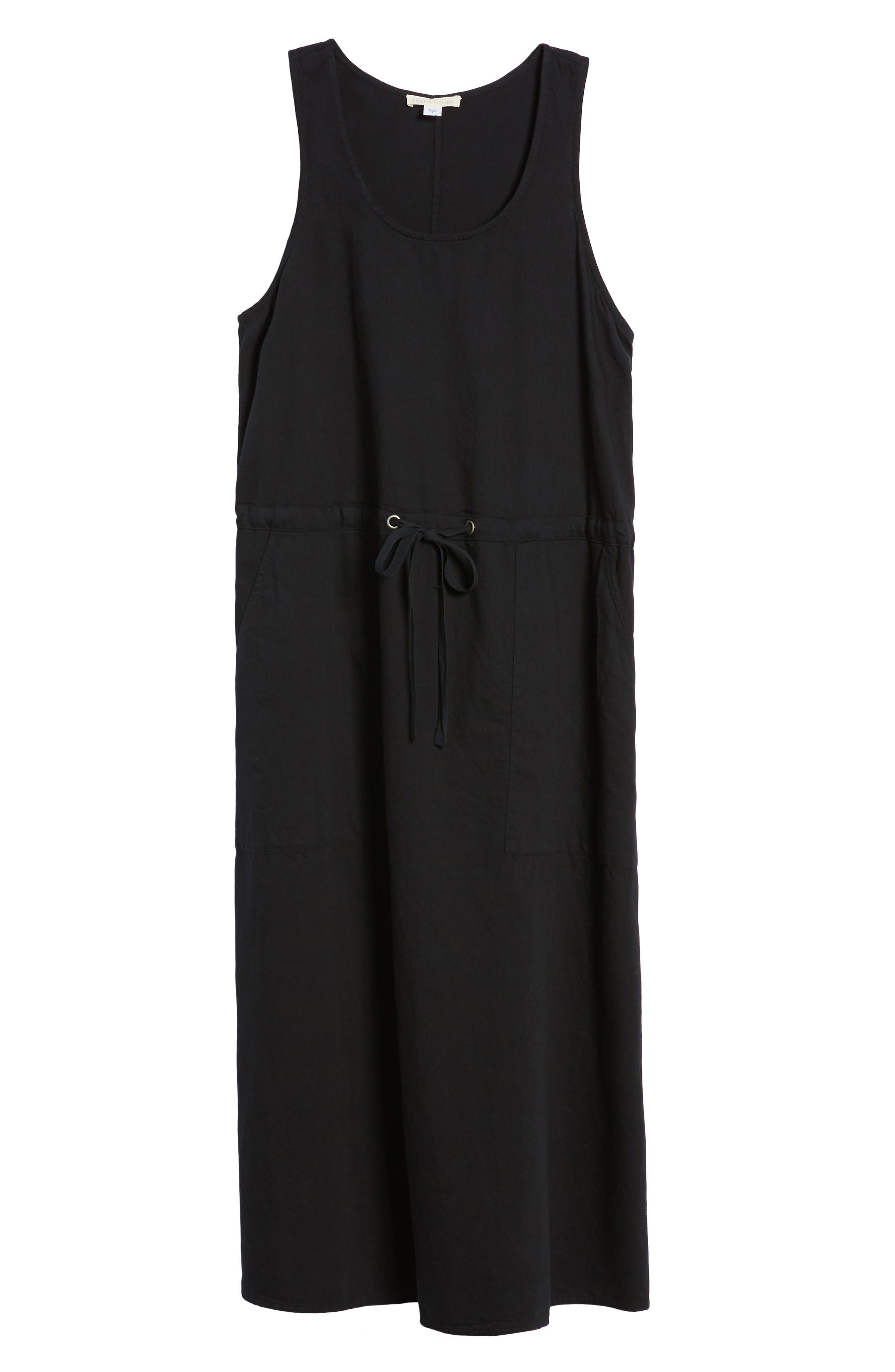 Drawstring Organic Cotton Midi Dress,                             Alternate thumbnail 7, color,                             001