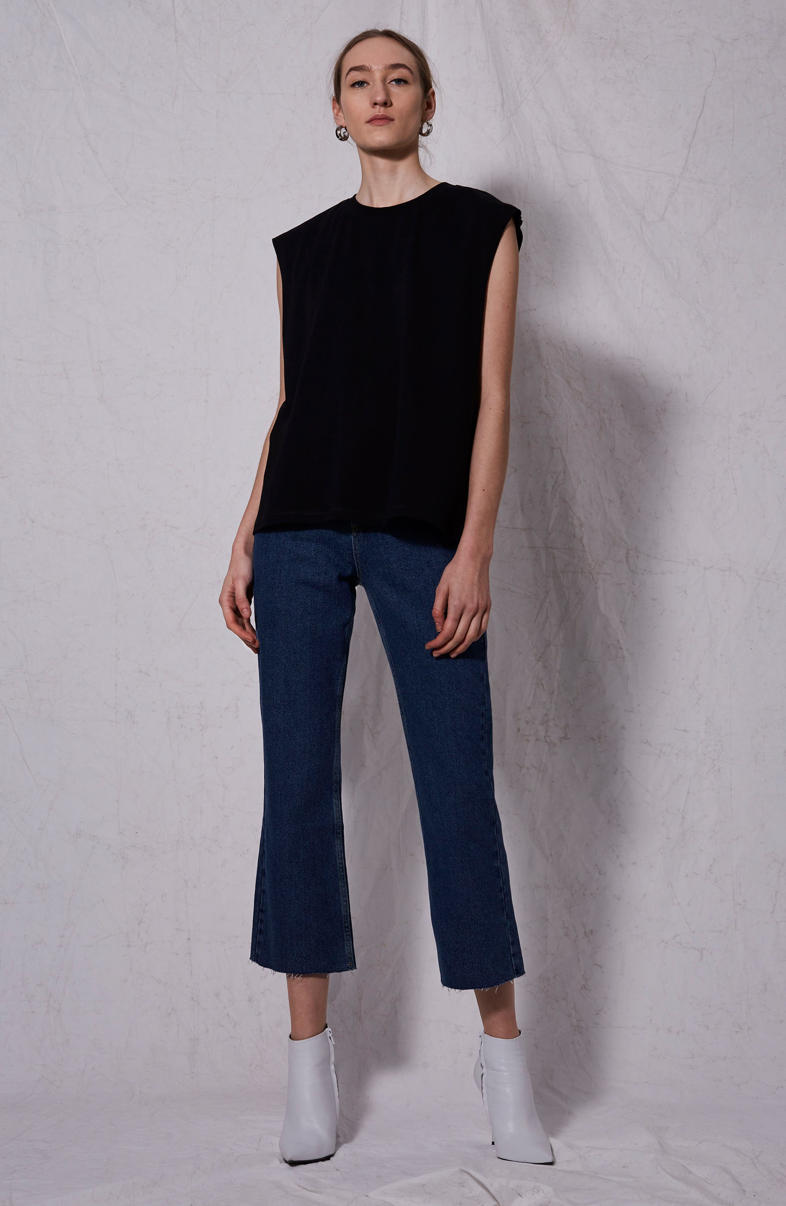 Raw Sleeve Top,                             Alternate thumbnail 4, color,                             001