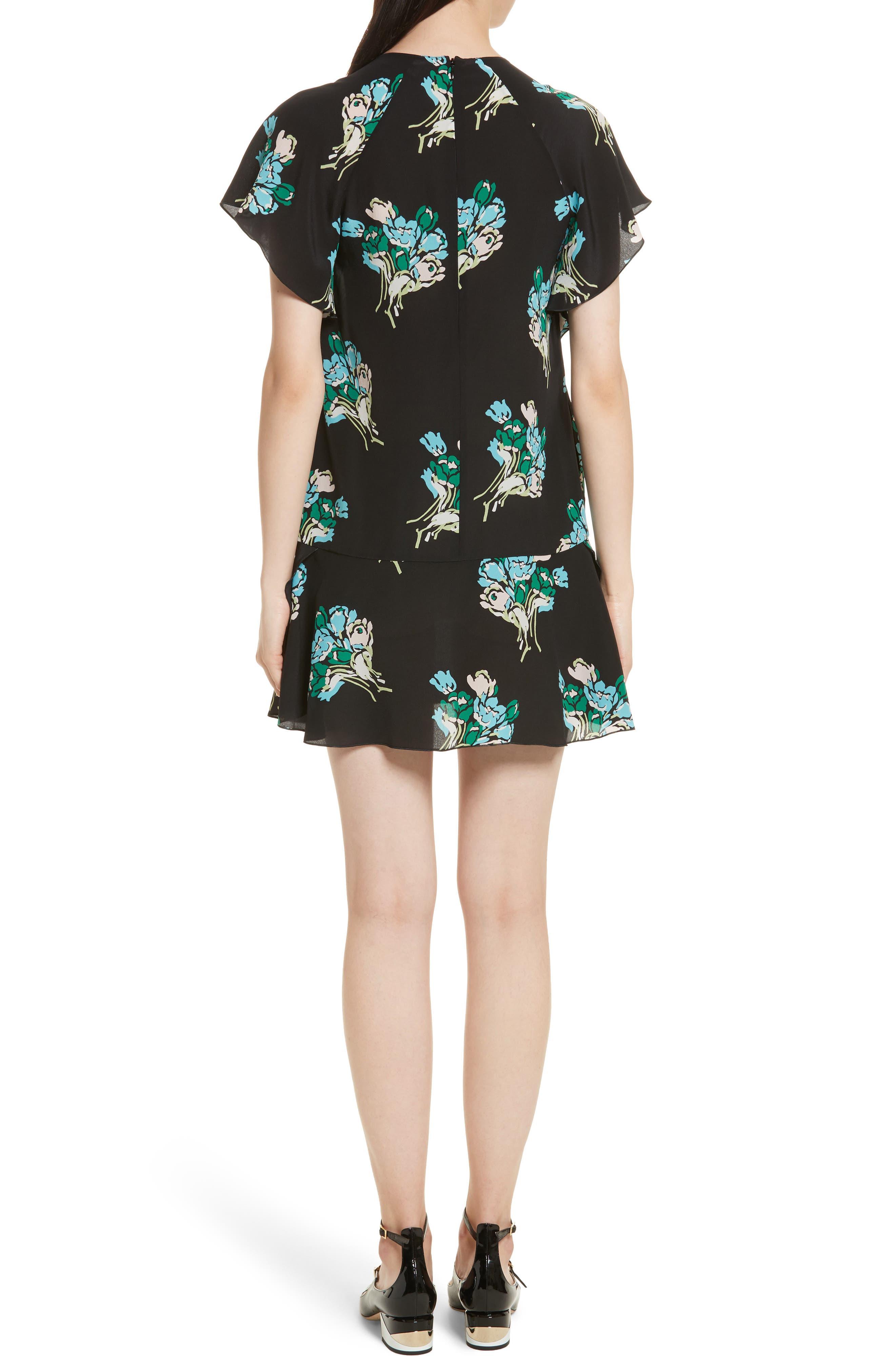Floral Silk Crepe de Chine Dress,                             Alternate thumbnail 2, color,                             001