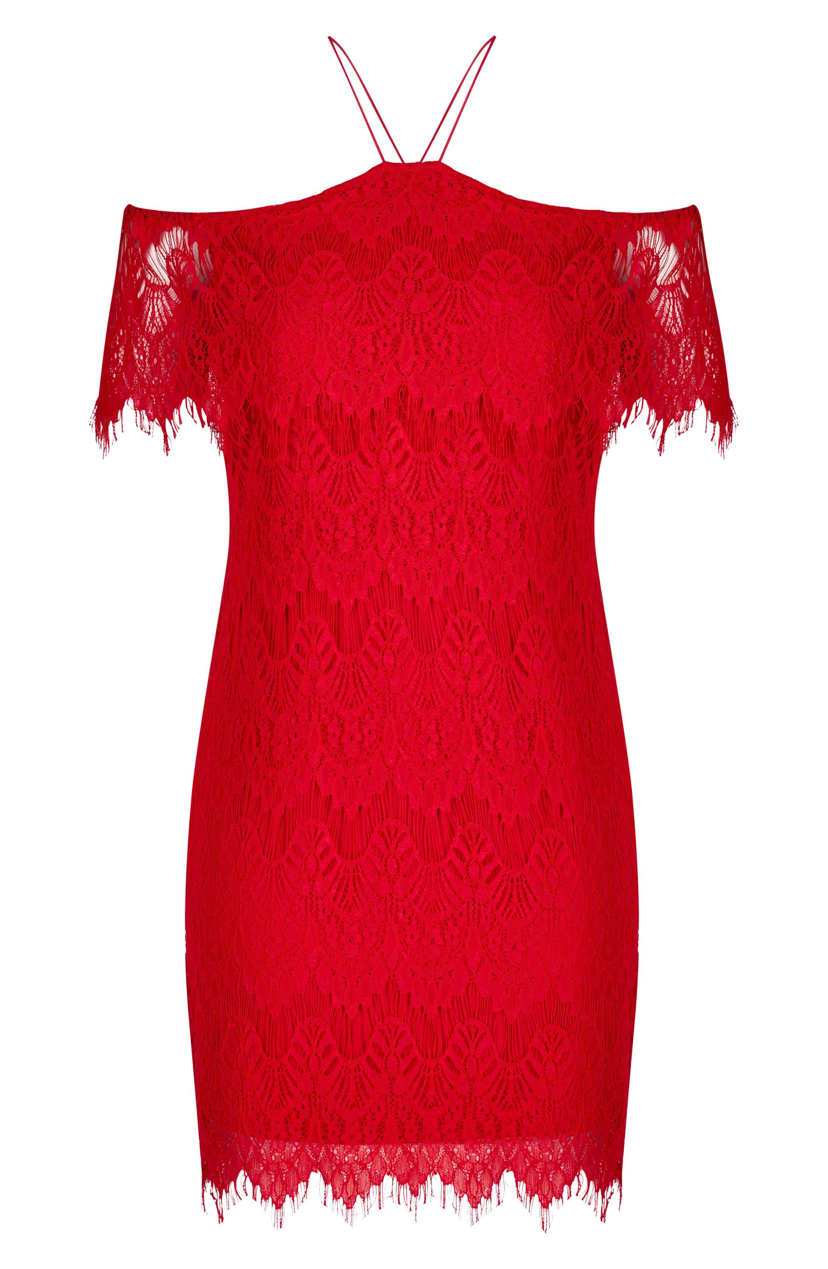 Lace Devotion Off the Shoulder Minidress,                             Alternate thumbnail 3, color,                             RED