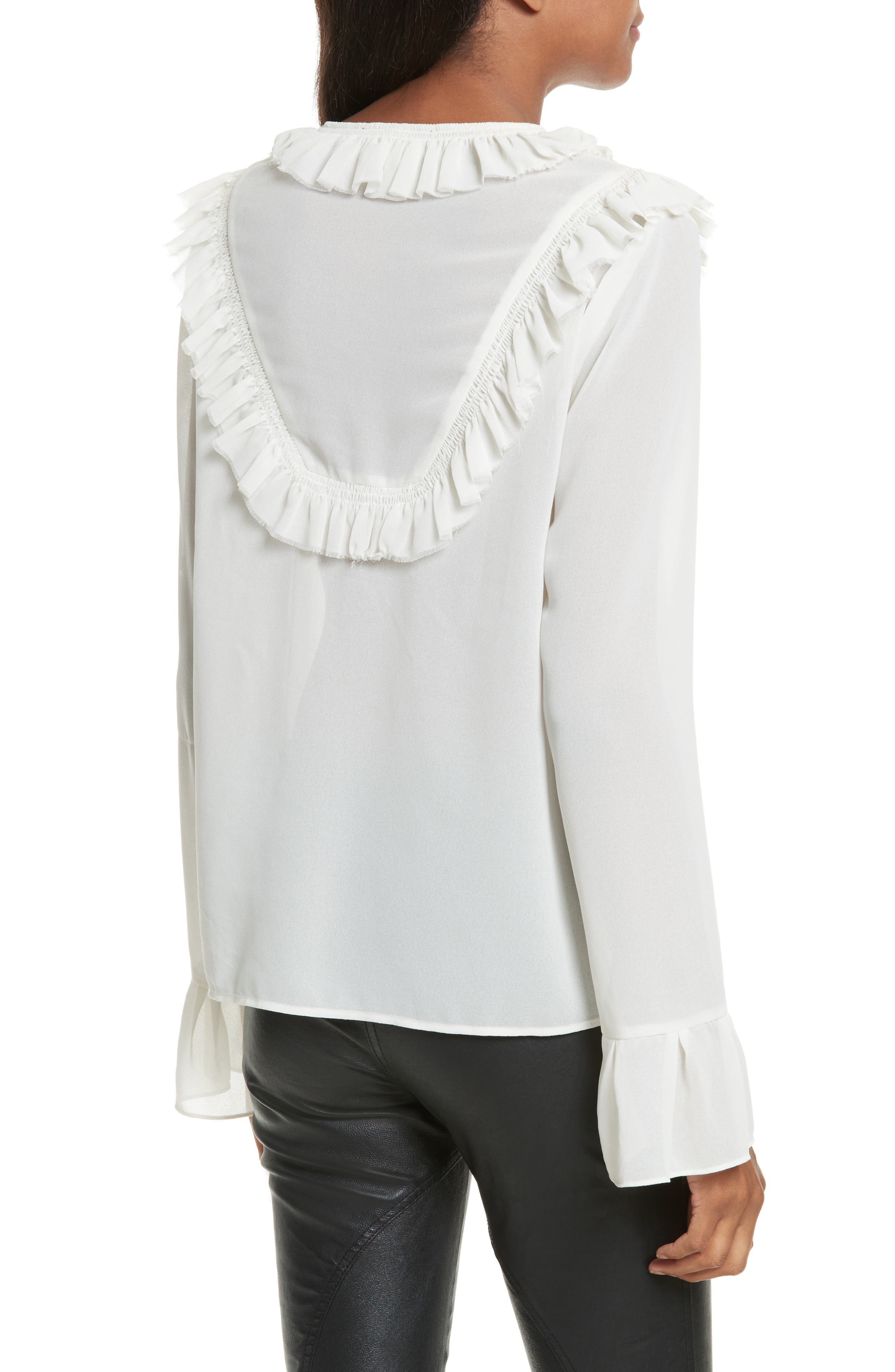 Pleated Ruffle Shirt,                             Alternate thumbnail 2, color,                             900