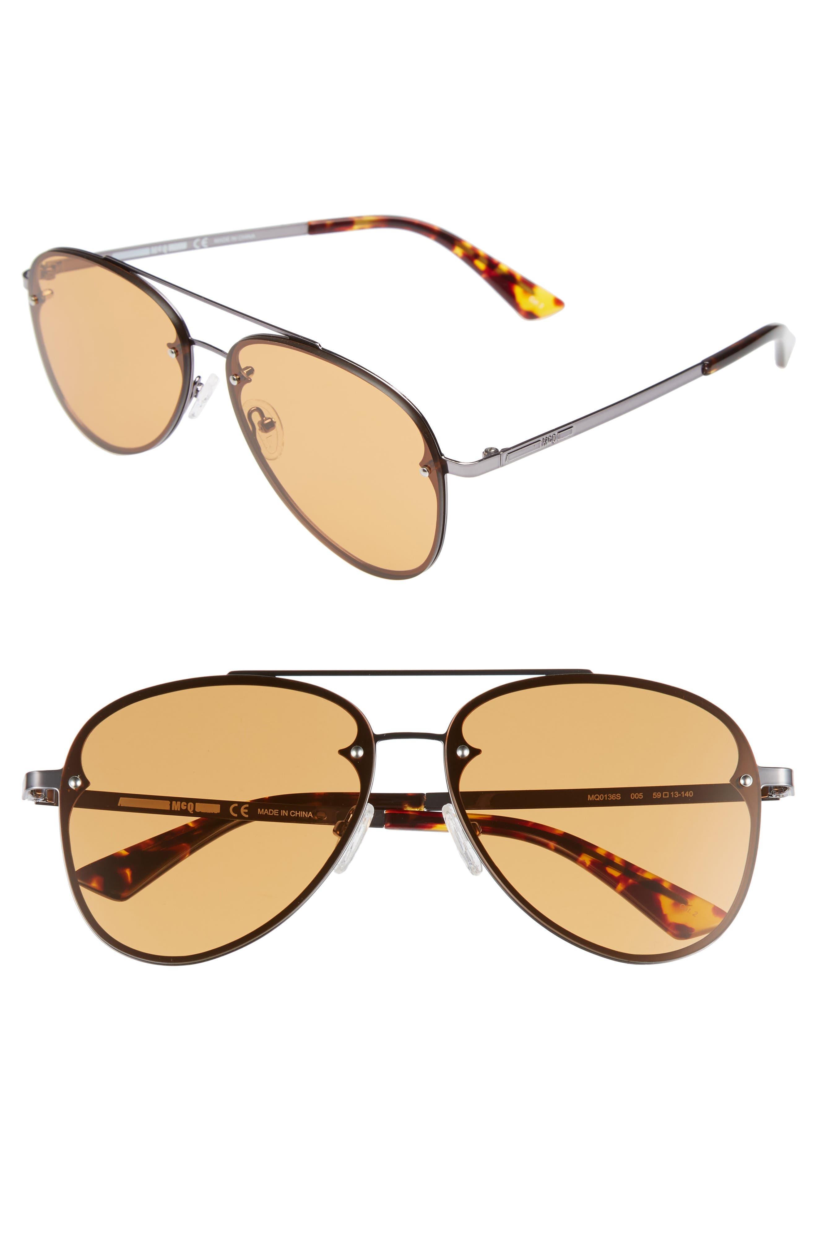 59mm Aviator Sunglasses,                         Main,                         color, RUTHENIUM