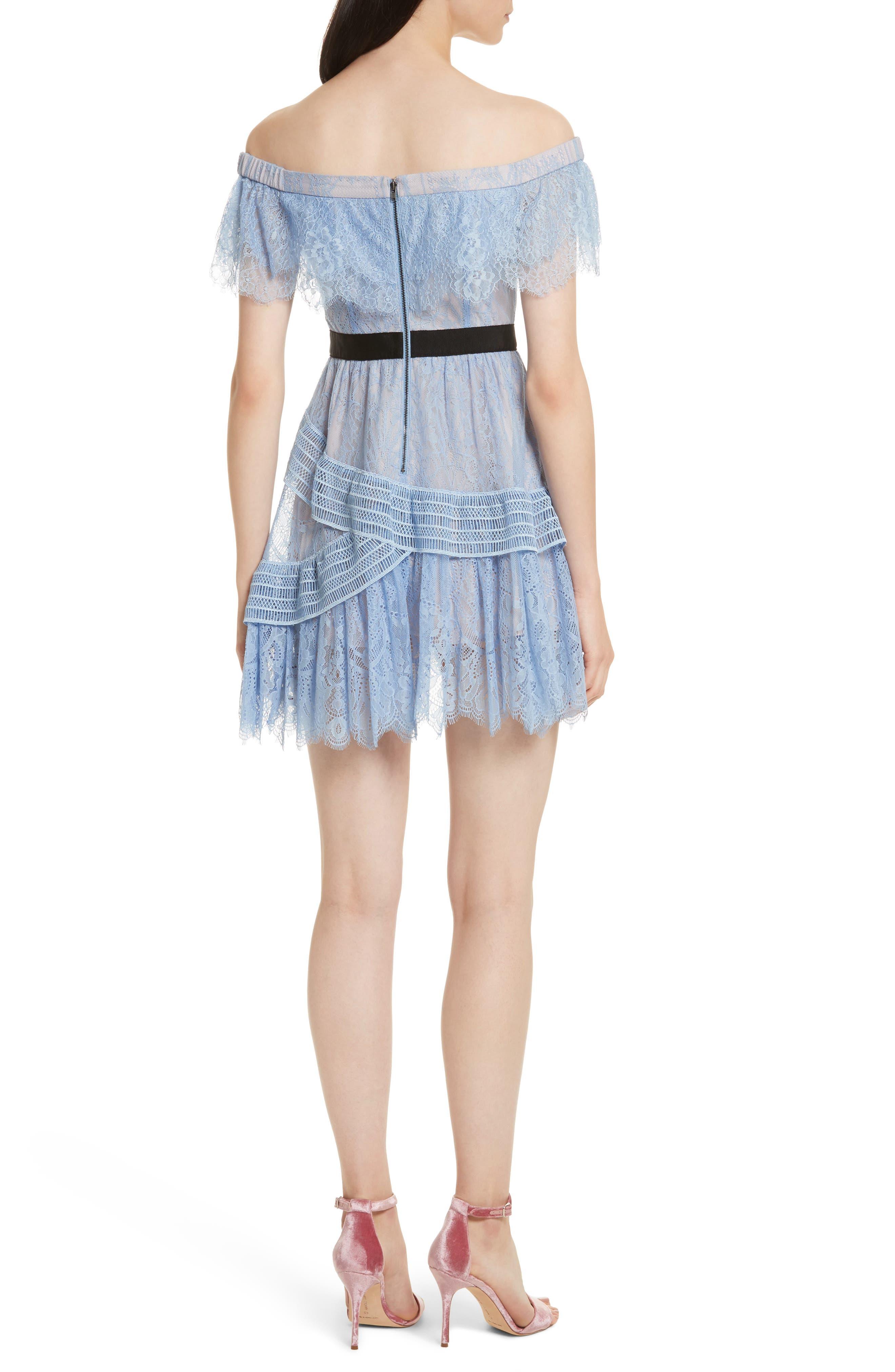 Lace Off the Shoulder Minidress,                             Alternate thumbnail 2, color,