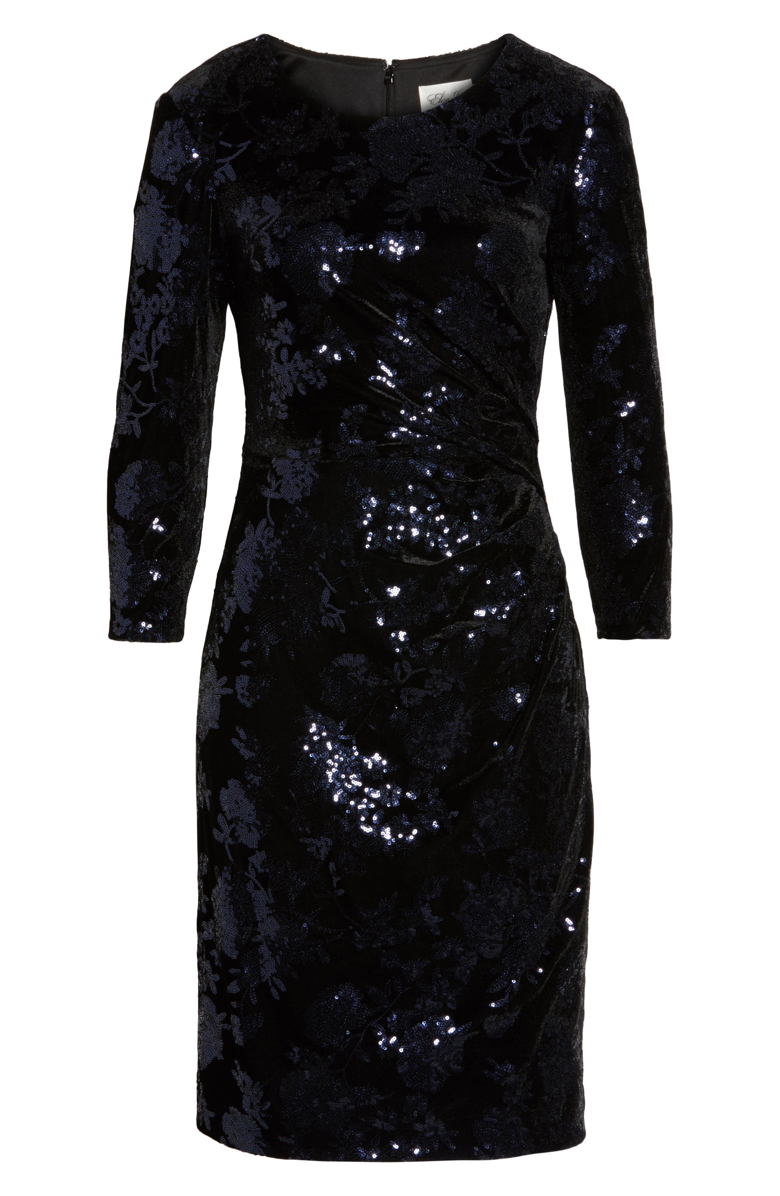Sequin Embellished Sheath Dress,                             Alternate thumbnail 6, color,                             001