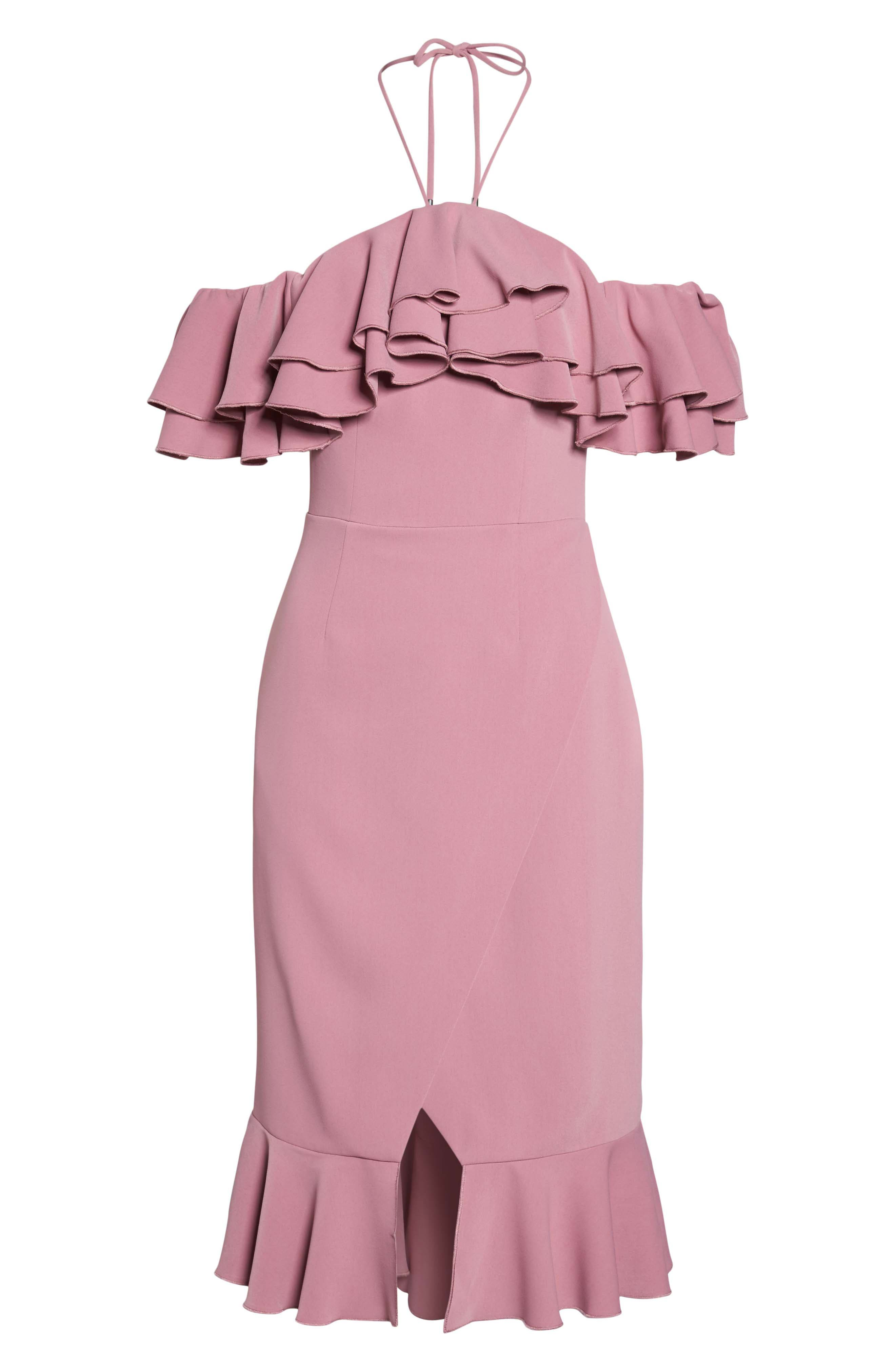 Temptation Ruffle Cold Shoulder Dress,                             Alternate thumbnail 7, color,