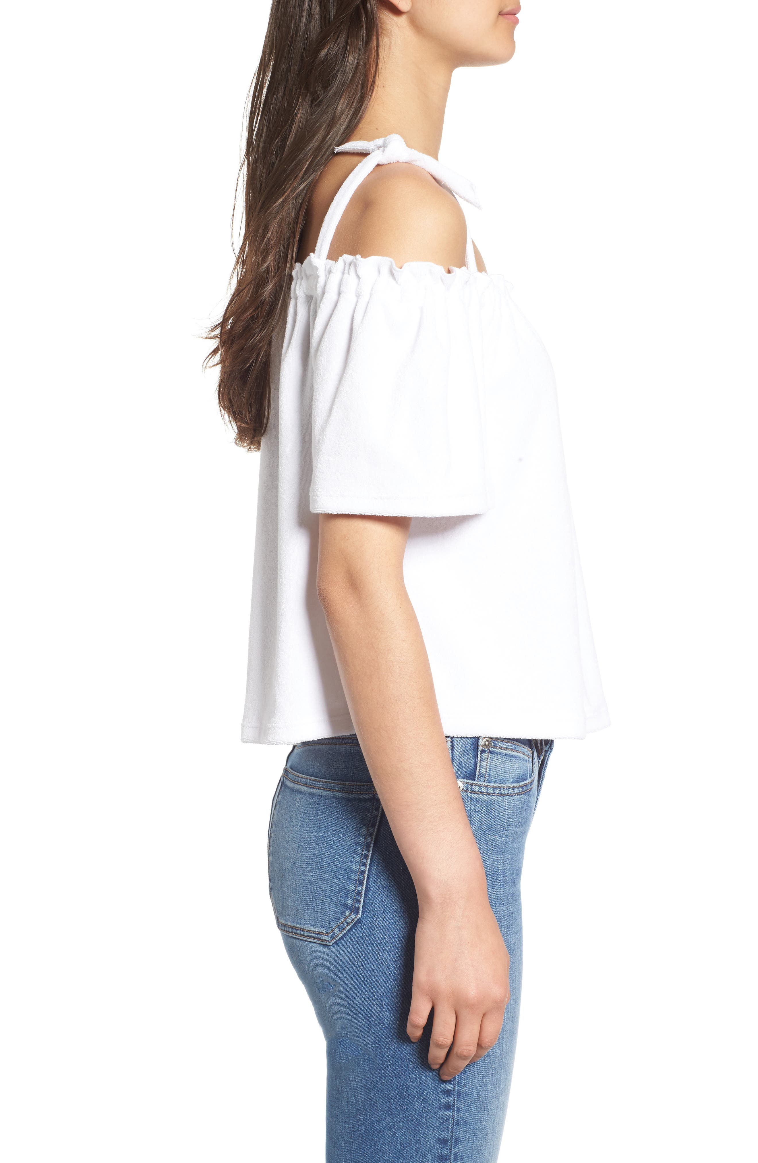 Venice Beach Microterry Off the Shoulder Top,                             Alternate thumbnail 3, color,                             119