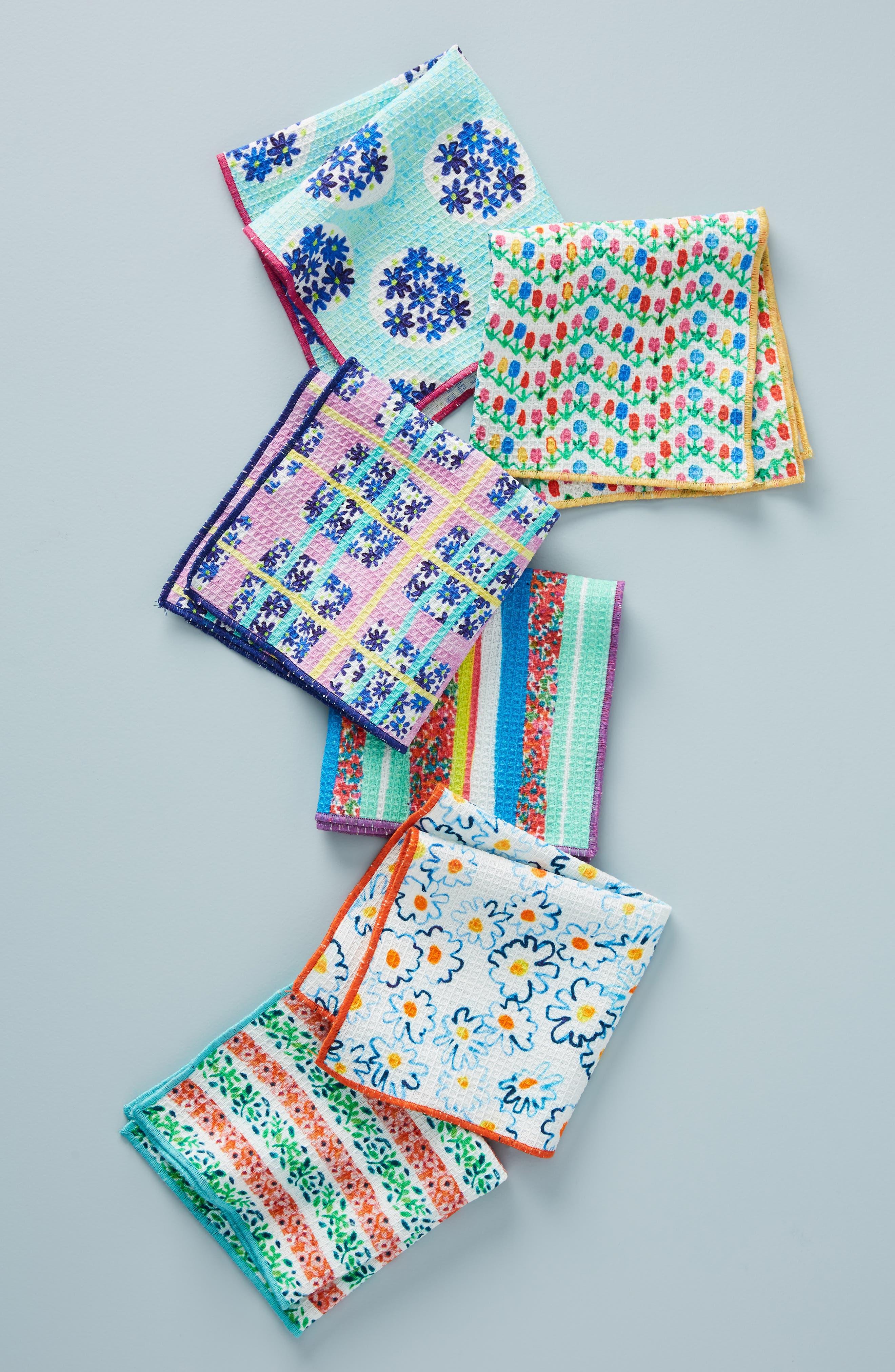 Gabriella Set of 6 Dish Cloths, Main, color, BLUE MULTI