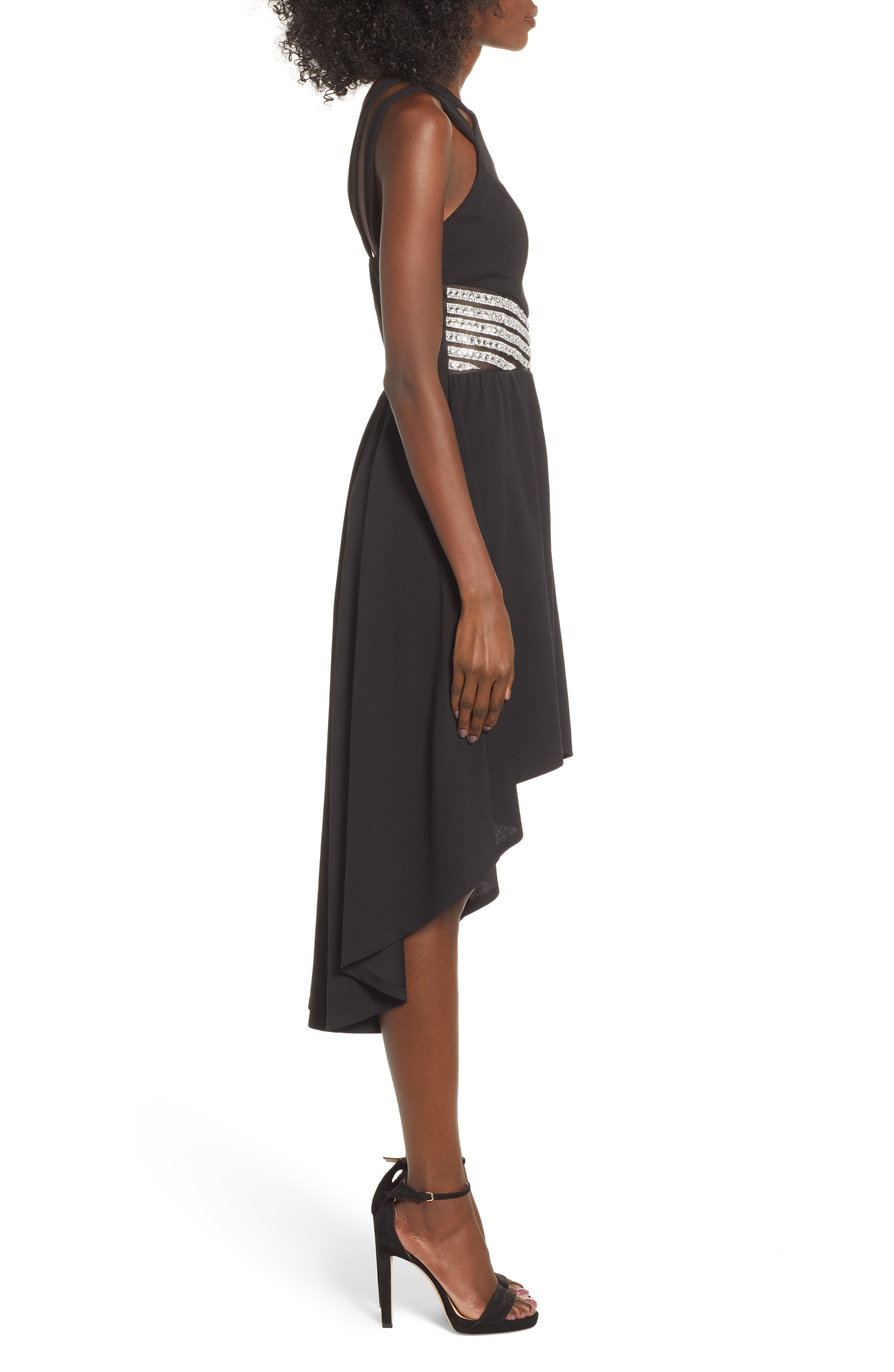 LOVE, NICKIE LEW,                             High/Low Jeweled Waist Dress,                             Alternate thumbnail 3, color,                             001