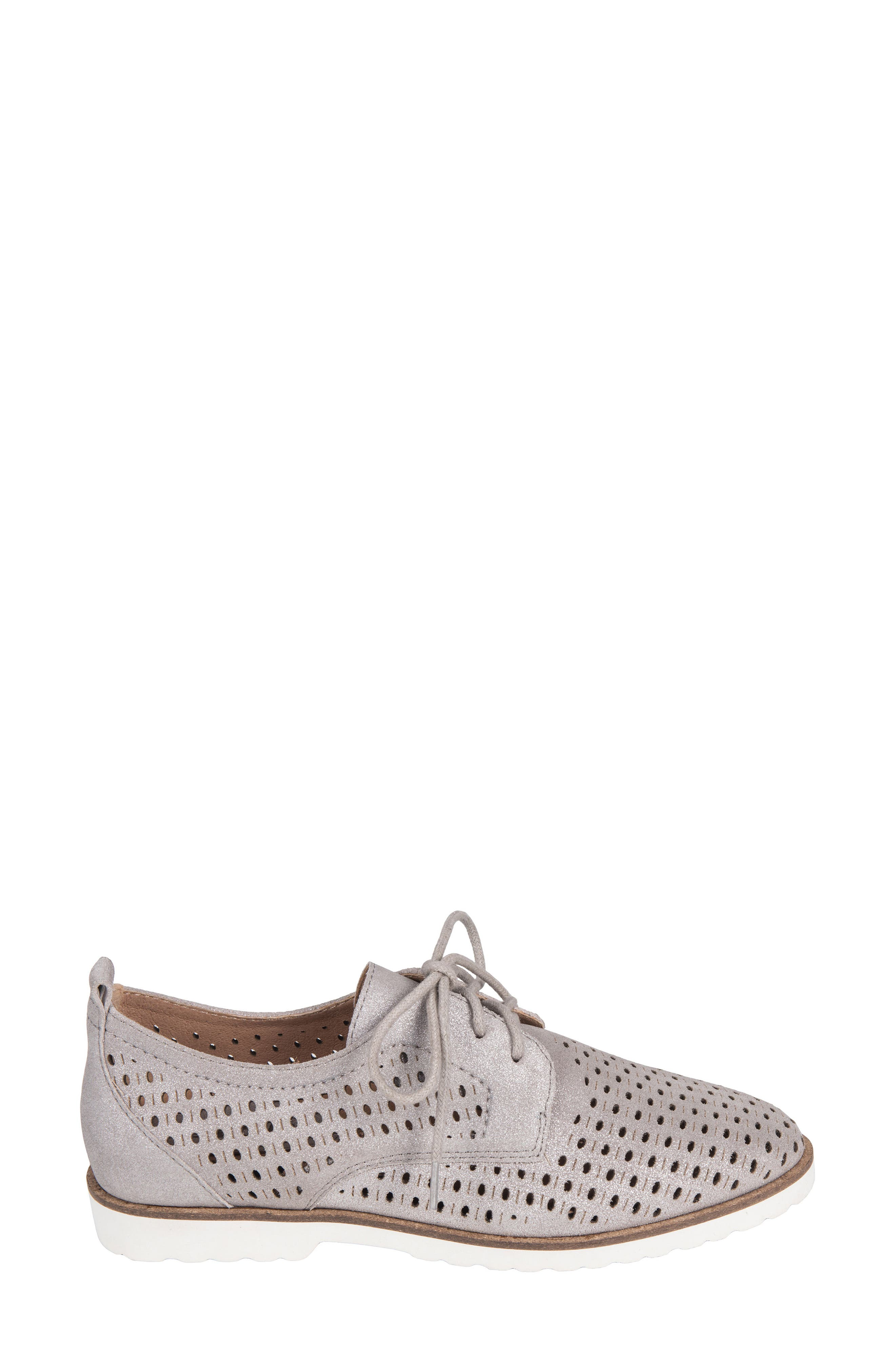 Camino Perforated Sneaker,                             Alternate thumbnail 3, color,                             SILVER METALLIC SUEDE