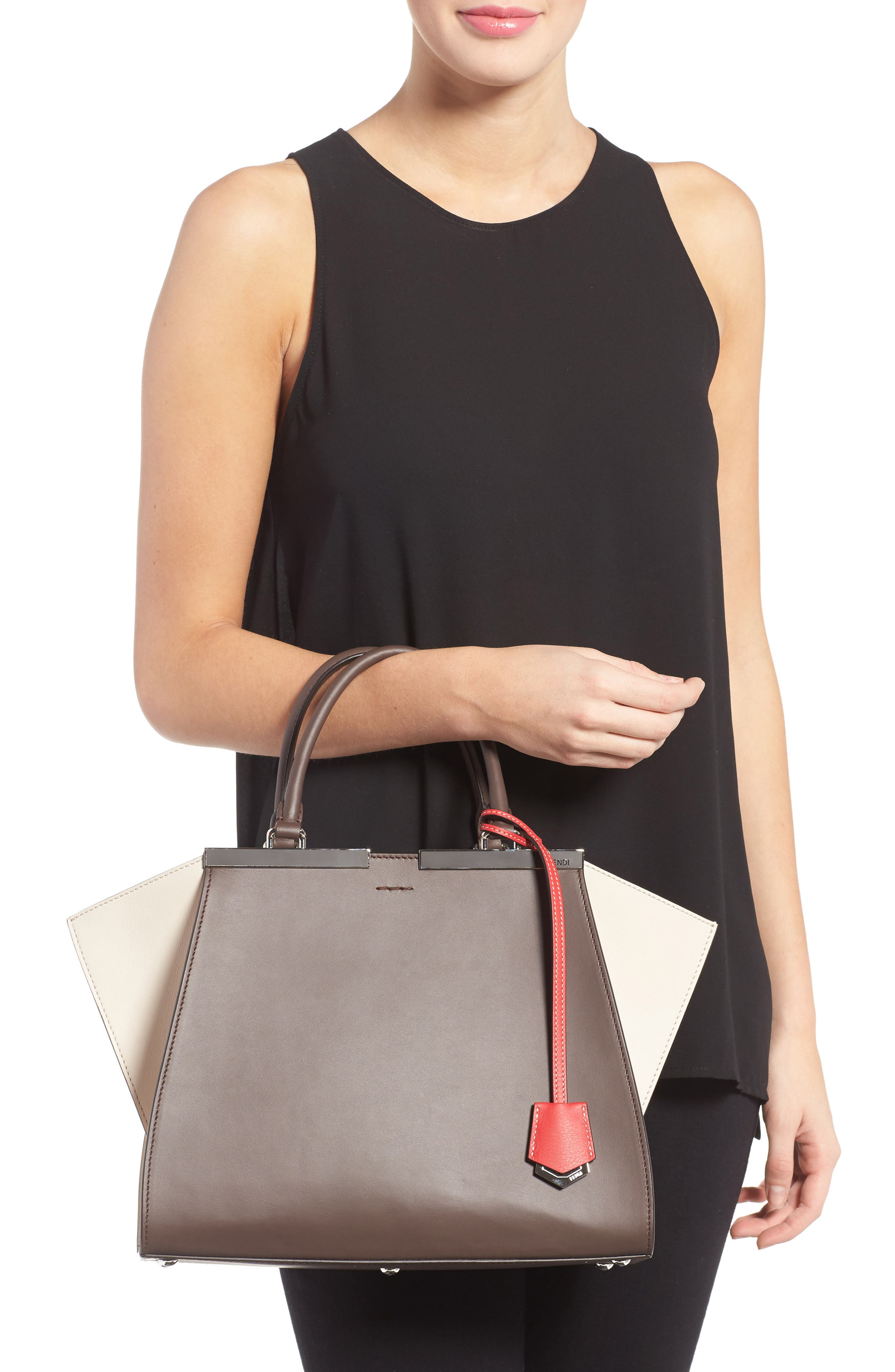 3Jours Colorblock Calfskin Leather Shopper,                             Alternate thumbnail 2, color,                             CHOCOLATE/ WHITE