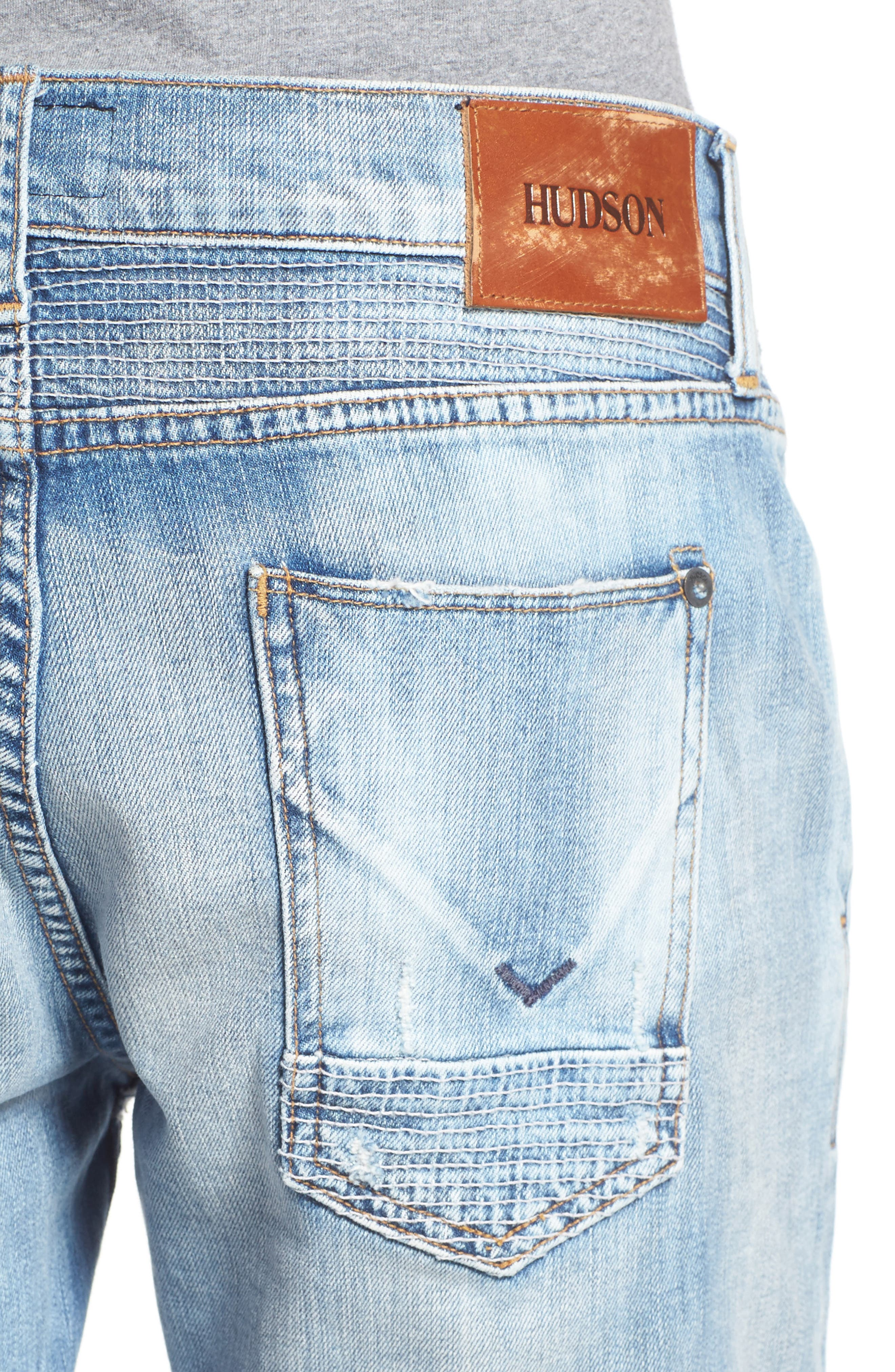 Blinder Skinny Fit Moto Jeans,                             Alternate thumbnail 4, color,                             THRASH