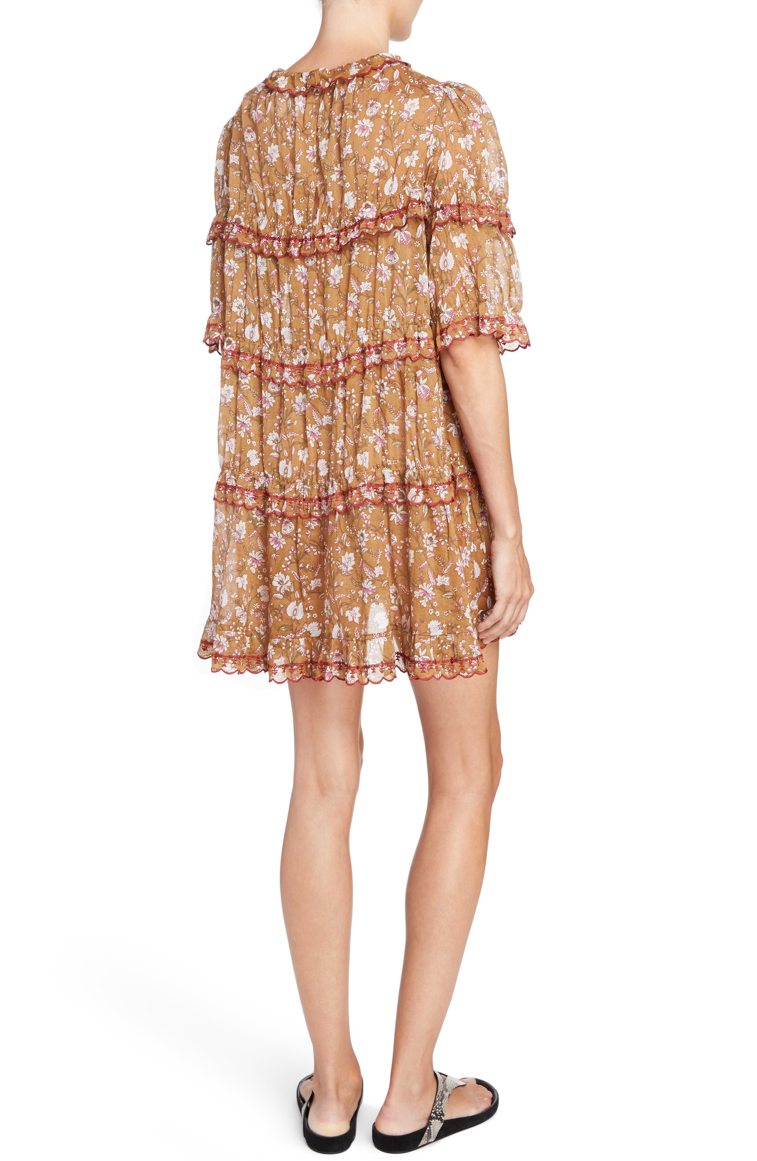 Isabel Marant Étoile Maiwenn Floral Print Cotton Dress,                             Alternate thumbnail 2, color,                             800
