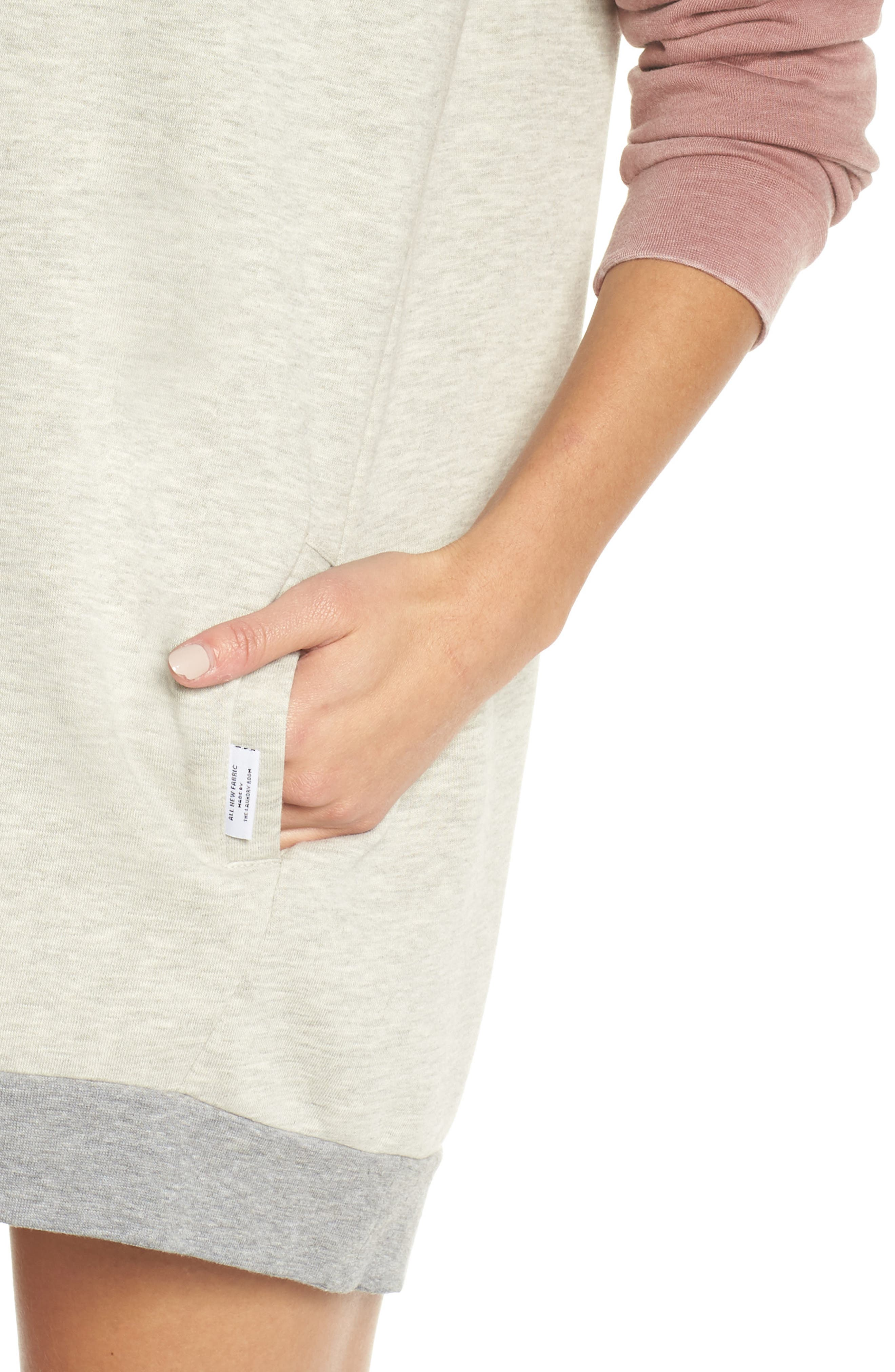 Lounge Sweatshirt Dress,                             Alternate thumbnail 4, color,                             PEBBLE HEATHER / MAUVE