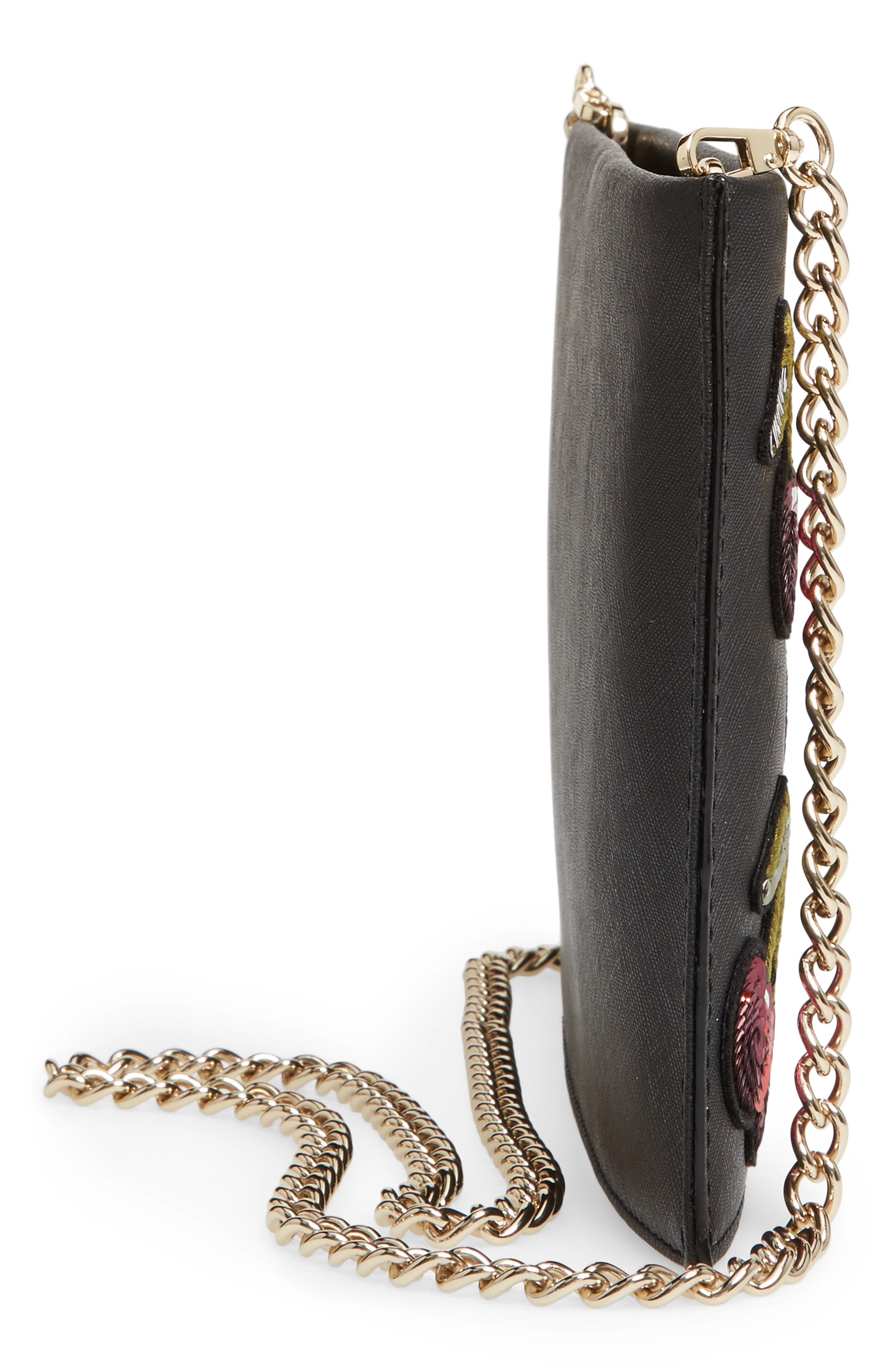 ma cherie - cherries sima leather shoulder bag,                             Alternate thumbnail 5, color,                             001