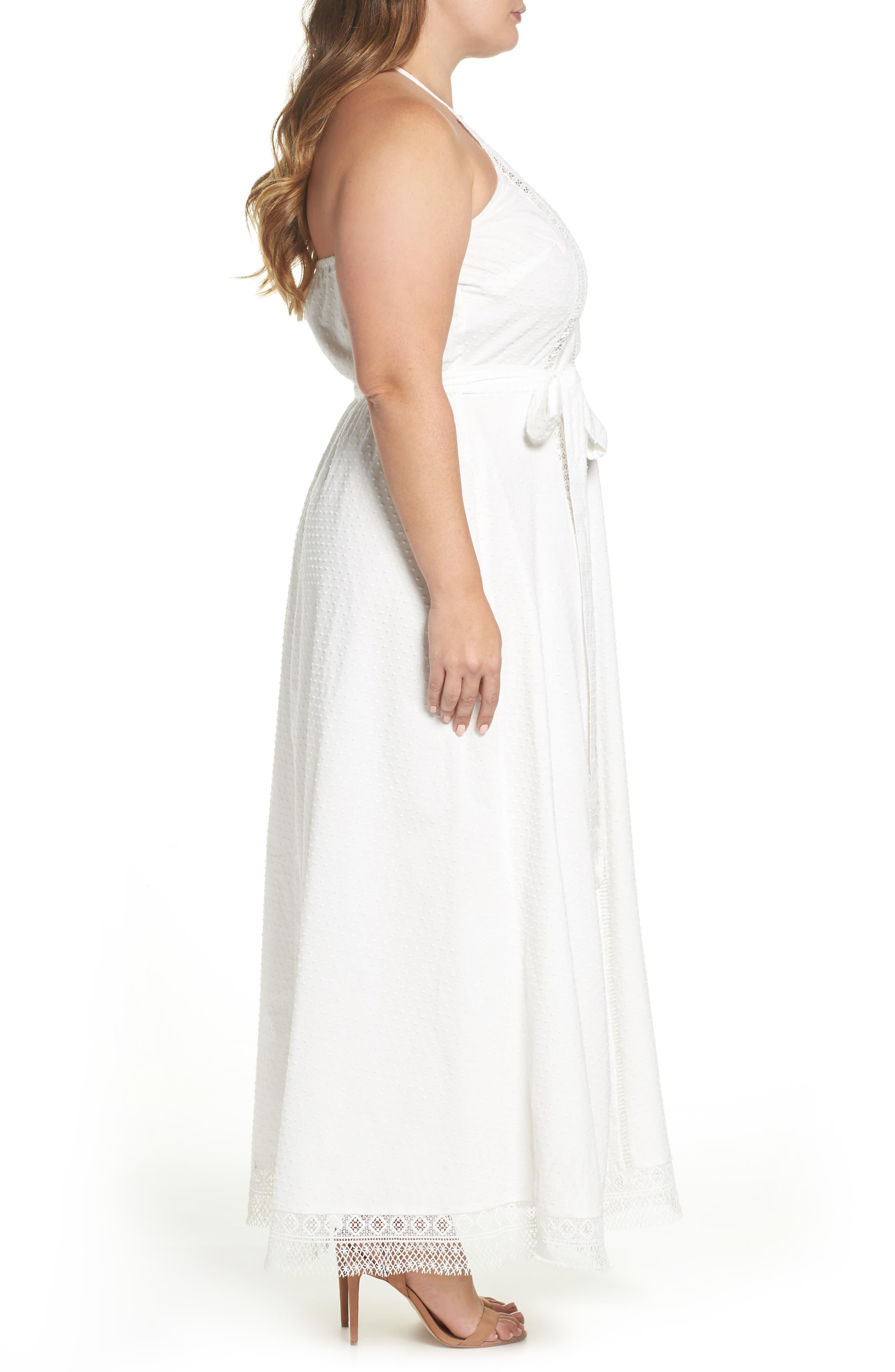 Lace Trim Swiss Dot Halter Maxi Dress,                             Alternate thumbnail 3, color,                             IVORY
