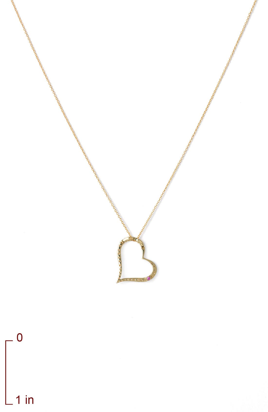 ROBERTO COIN,                             Slanted Diamond Heart Pendant Necklace,                             Alternate thumbnail 3, color,                             710