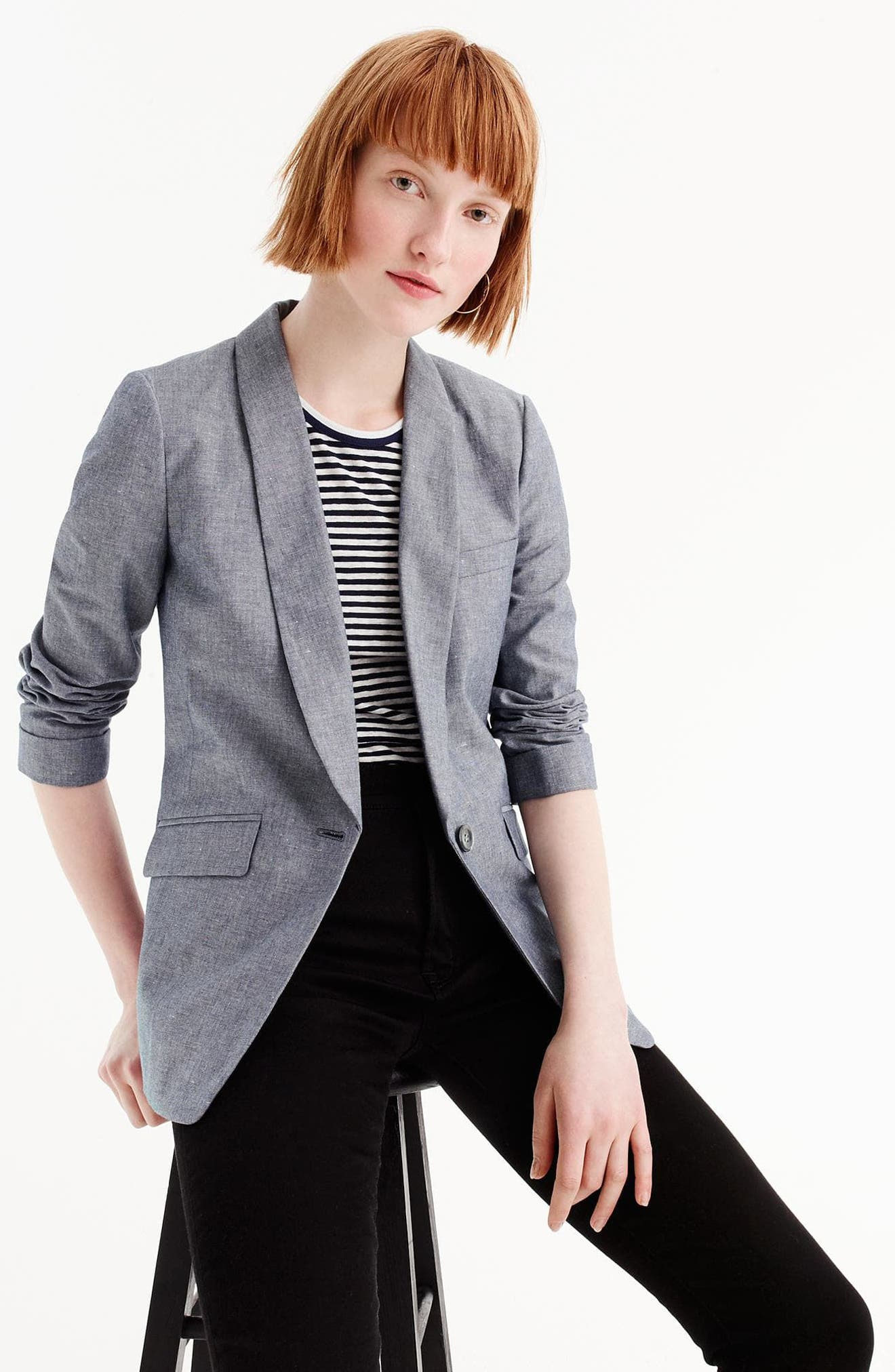 Unstructured Shawl Collar Cotton Linen Blazer,                             Alternate thumbnail 7, color,
