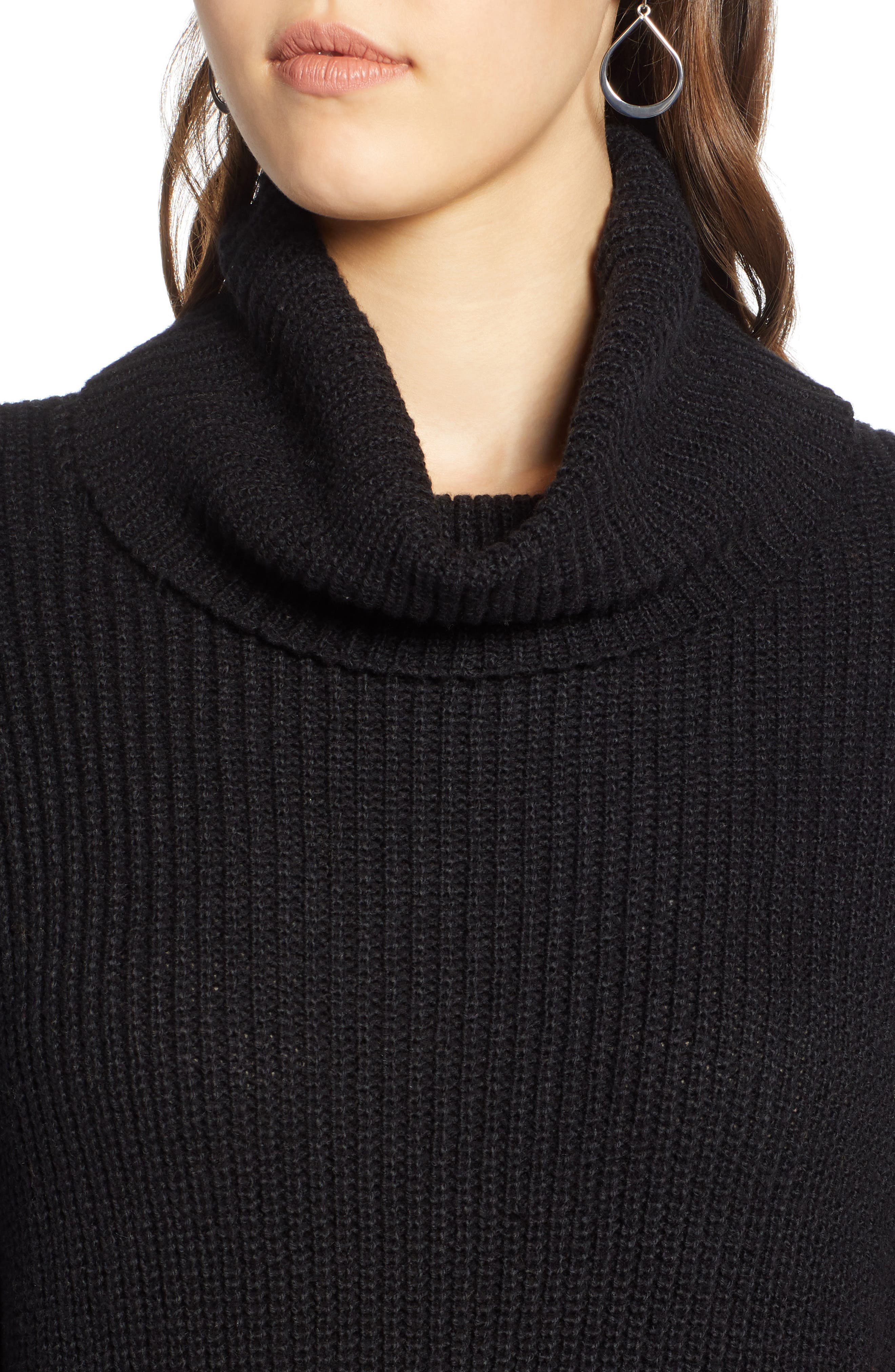Oversized Turtleneck Tunic Sweater,                             Alternate thumbnail 4, color,                             001