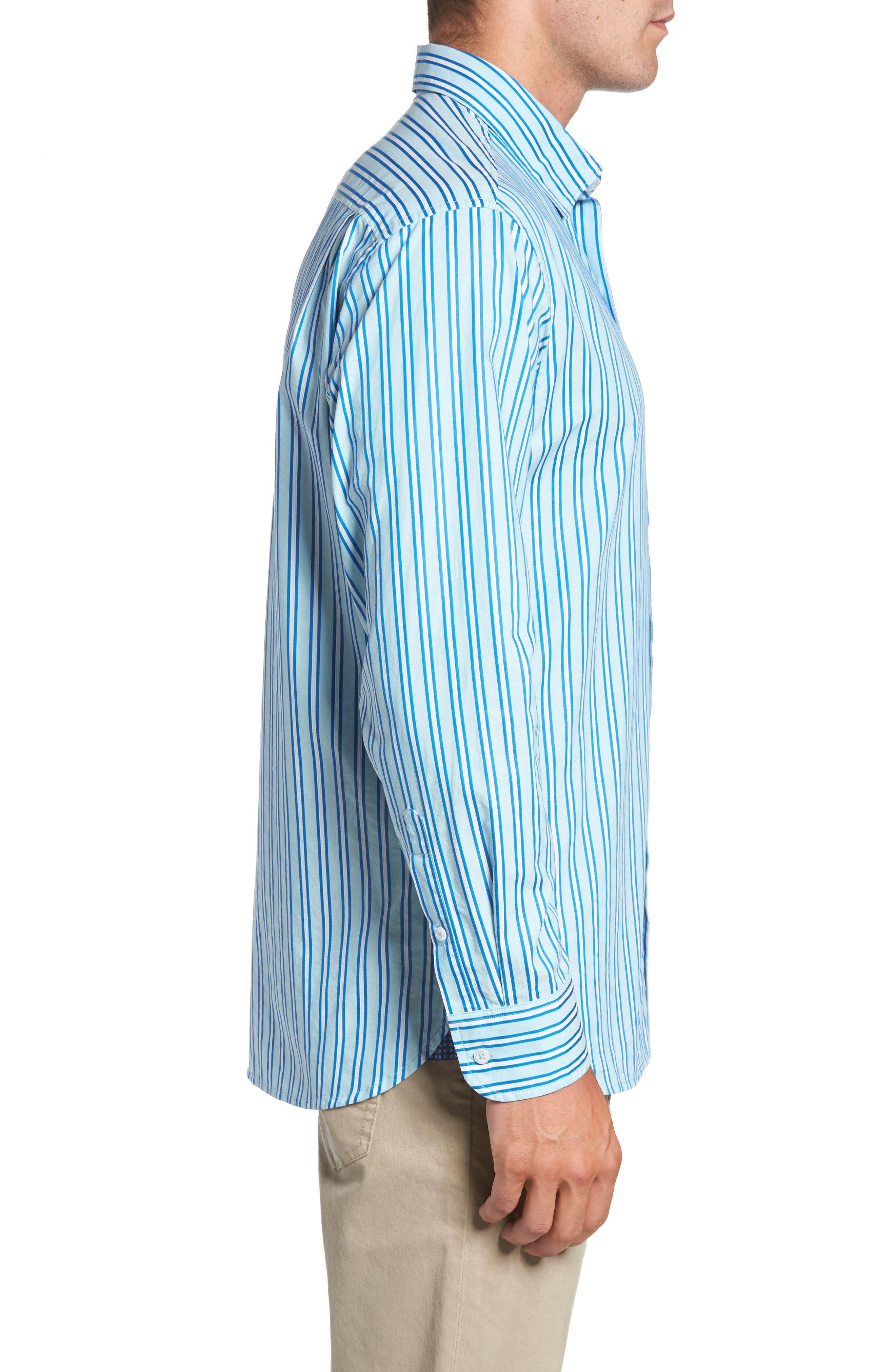 Surf the Line Stripe Sport Shirt,                             Alternate thumbnail 3, color,                             400
