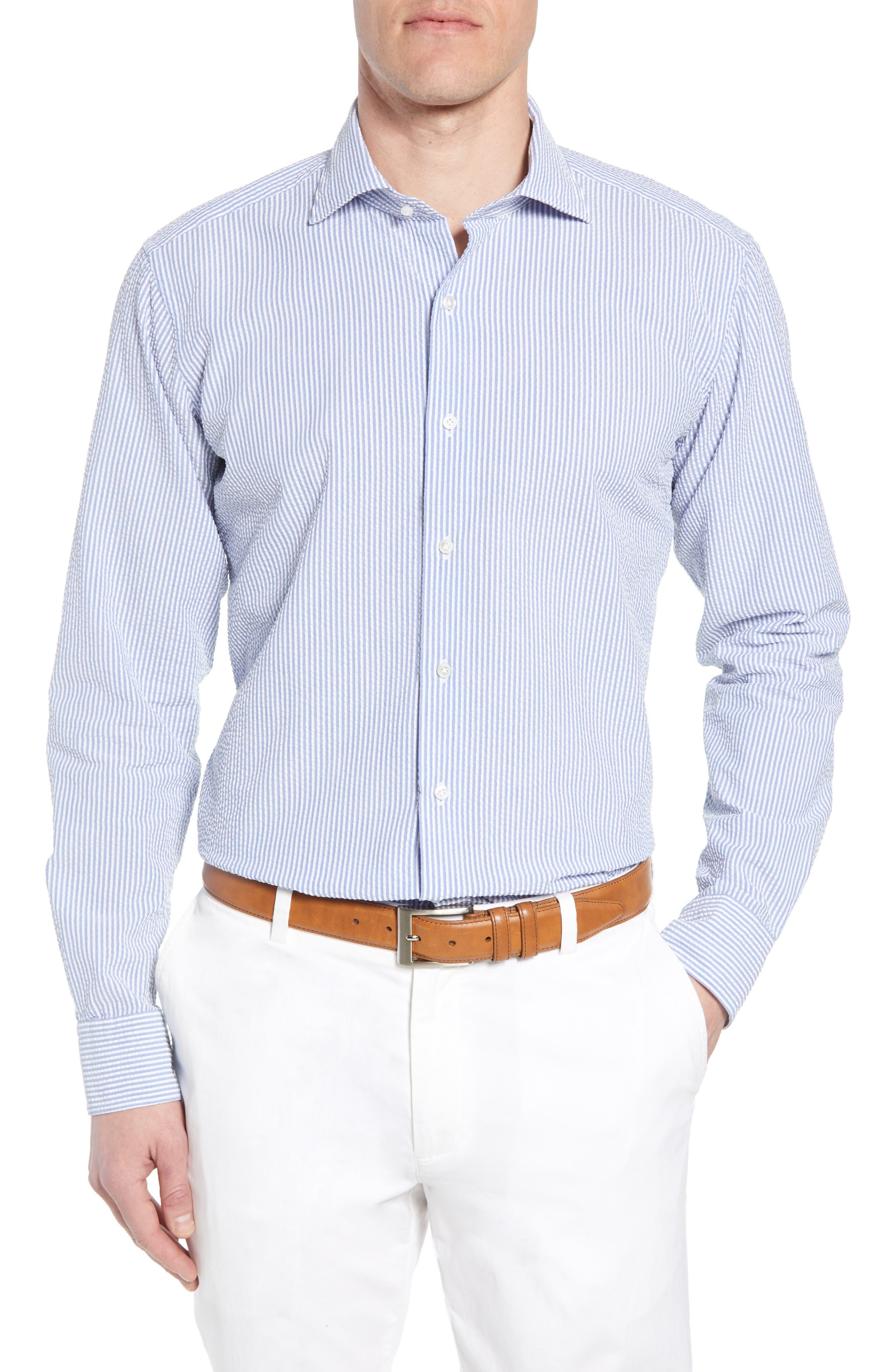 Summertime Stripe Seersucker Sport Shirt,                         Main,                         color, BLUE CEILLO