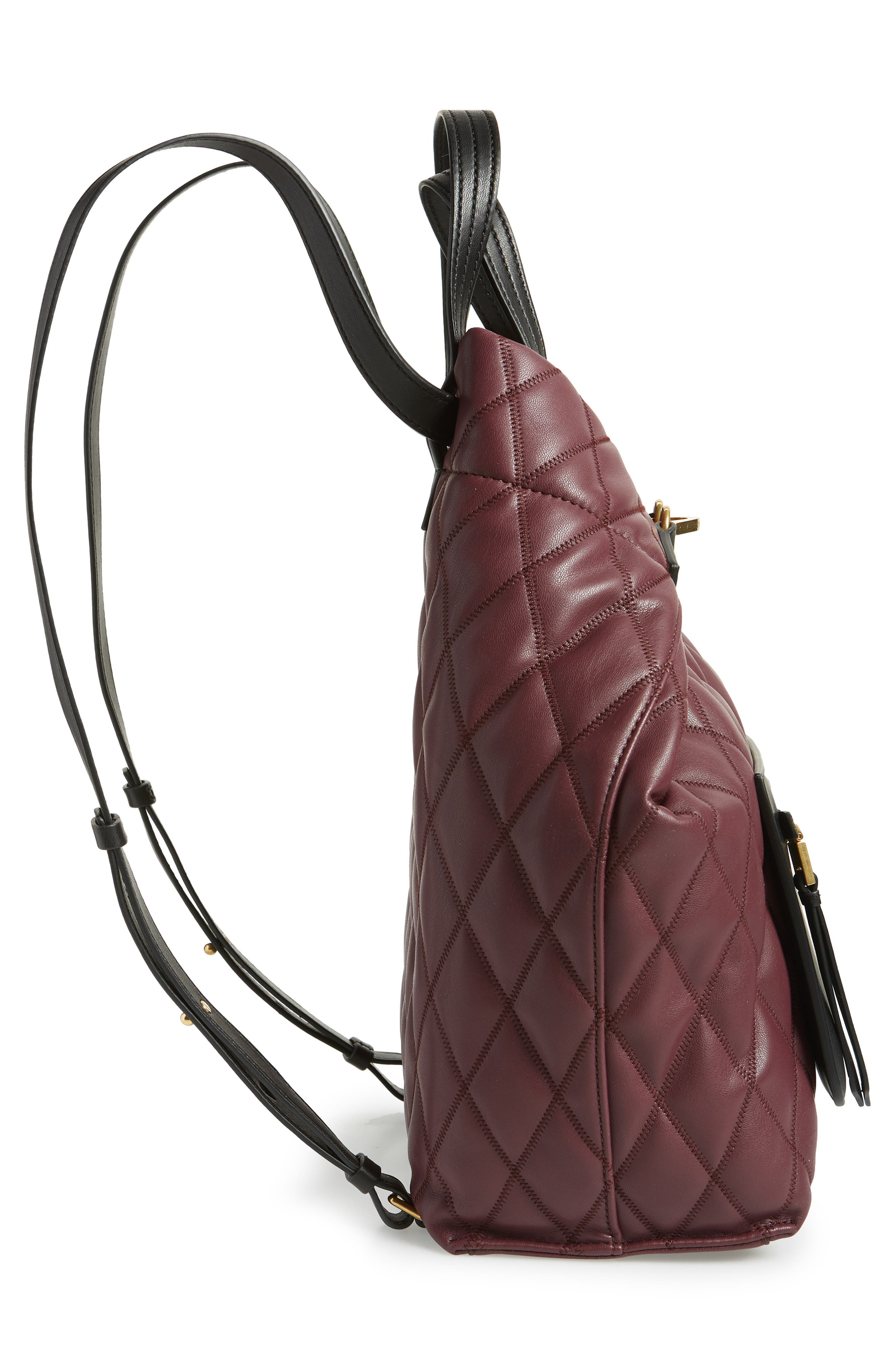 Duo Quilted Faux Leather Backpack,                             Alternate thumbnail 5, color,                             AUBERGINE