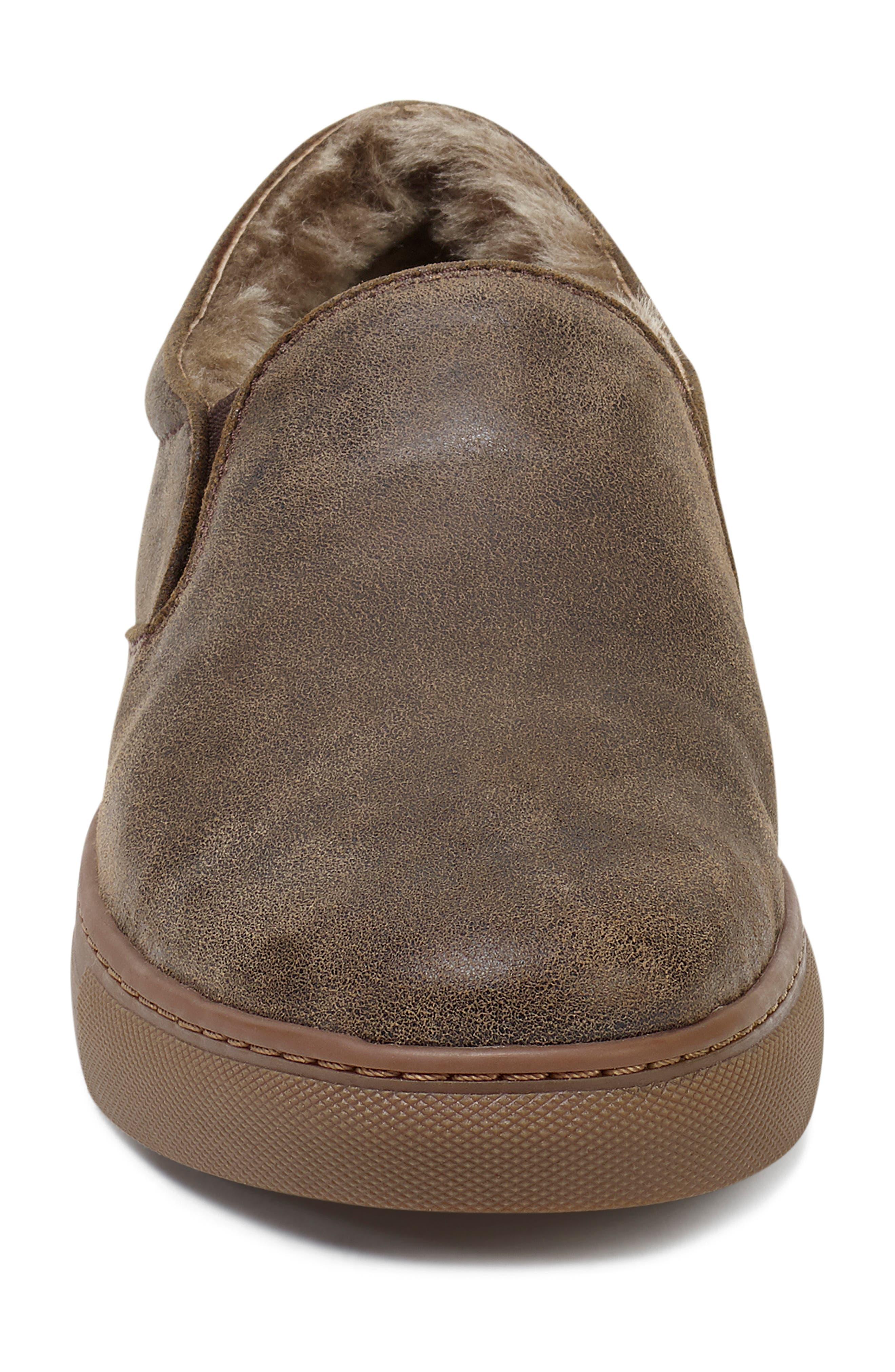 Alex Genuine Shearling Slip-On Sneaker,                             Alternate thumbnail 4, color,                             BROWN SUEDE