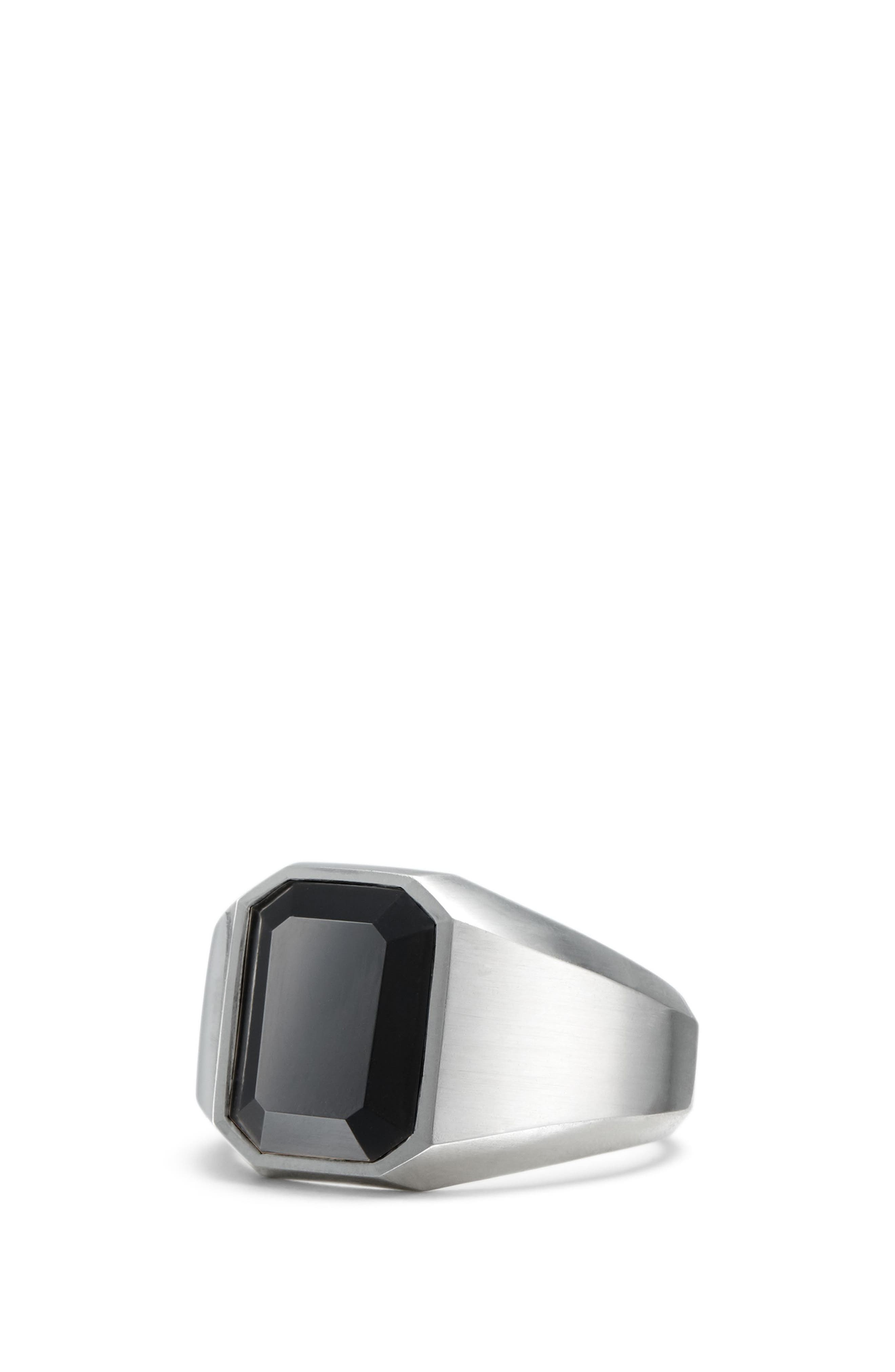 Onyx Signet Ring in Sterling Silver,                         Main,                         color, BLACK ONYX
