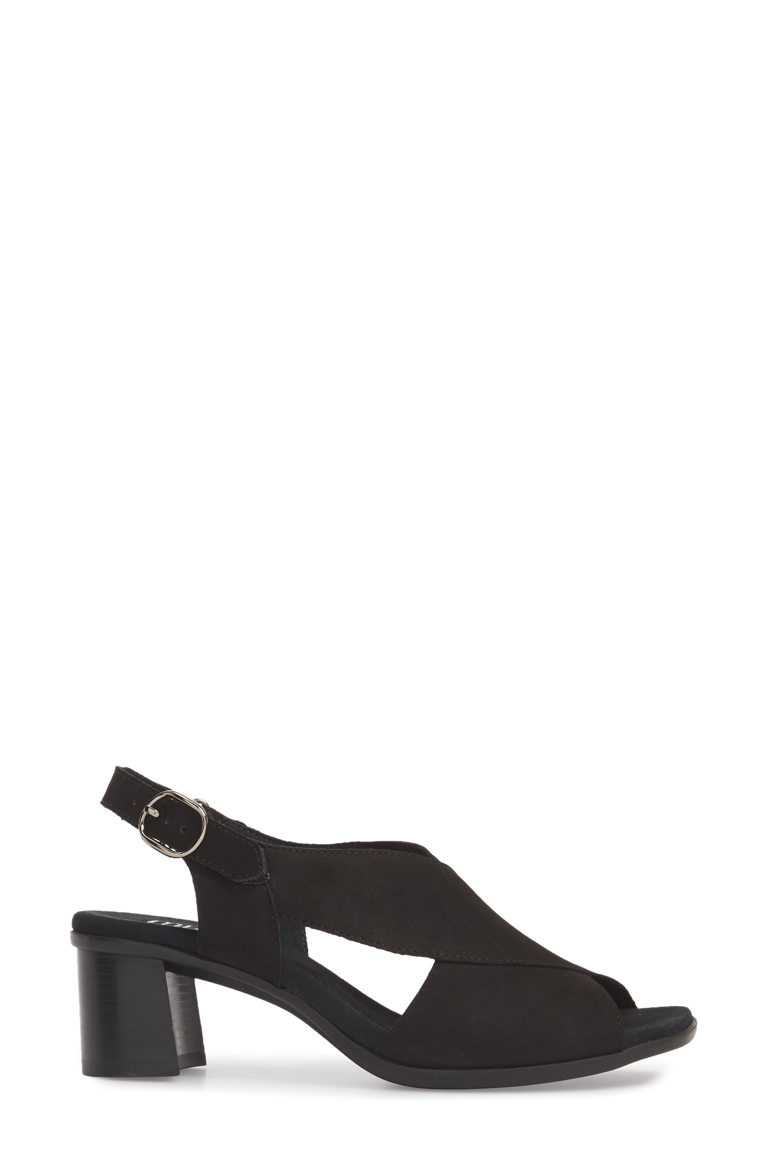 Laine Block Heel Sandal,                             Alternate thumbnail 3, color,                             BLACK NUBUCK LEATHER