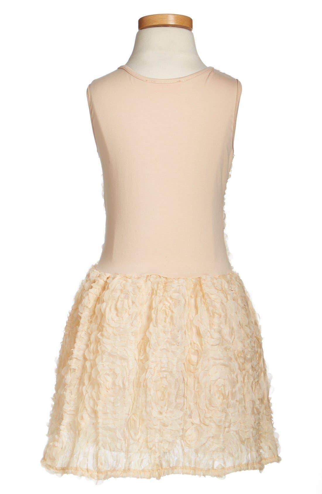 Rosette Drop Waist Dress,                             Alternate thumbnail 5, color,                             IVORY
