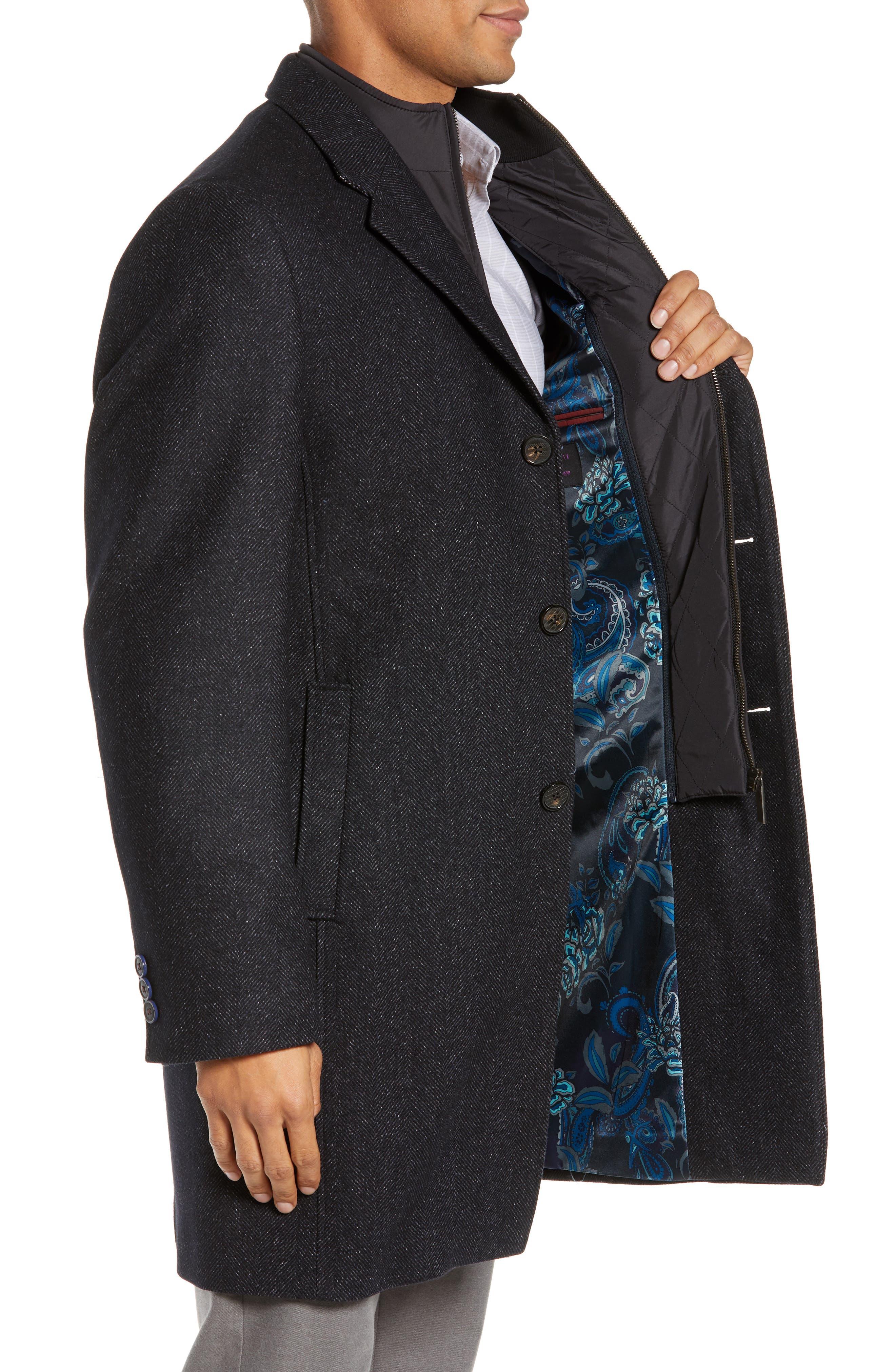 Herringbone Wool Blend Overcoat,                             Alternate thumbnail 3, color,                             NAVY