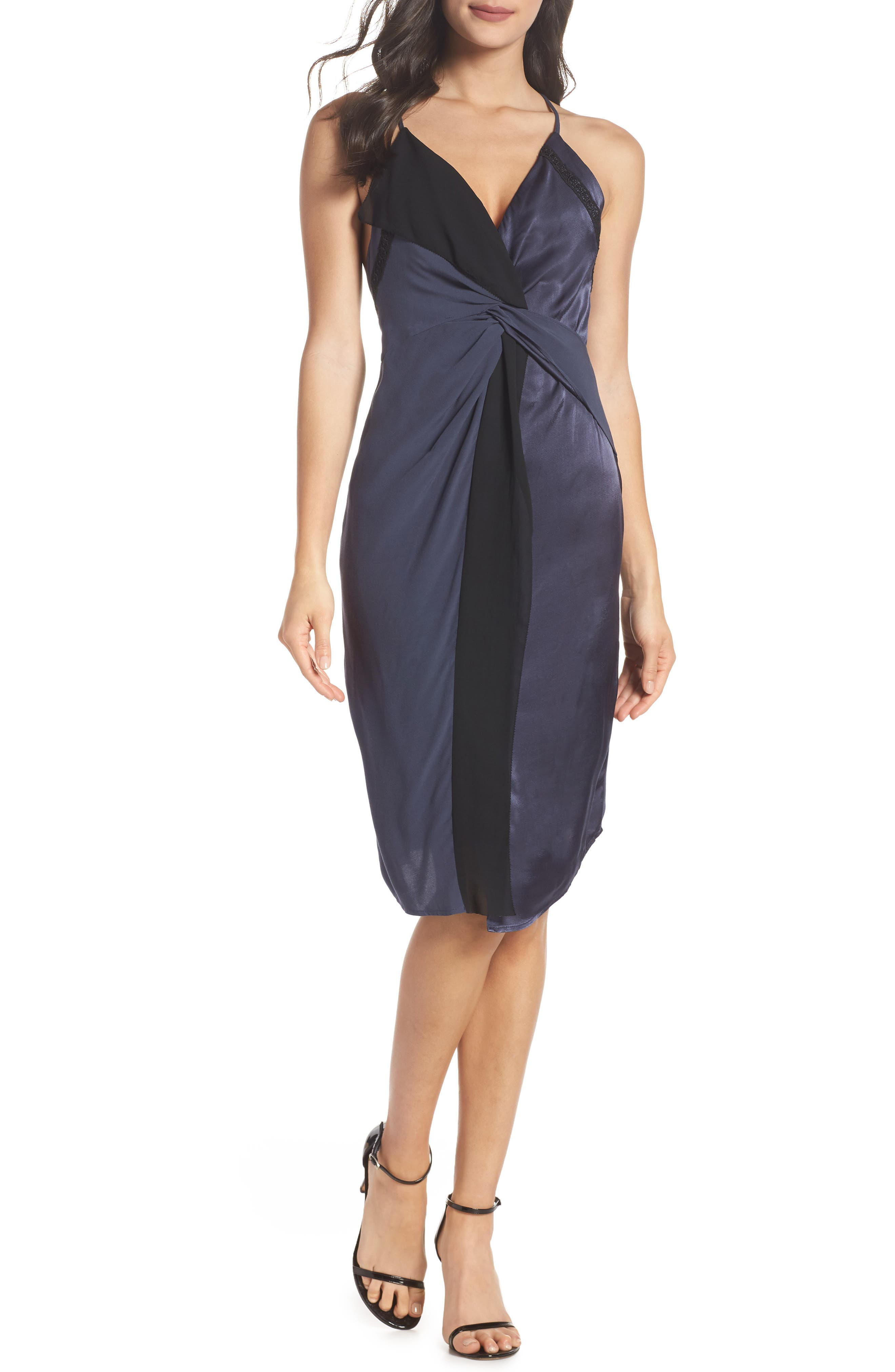 Twist Front Cocktail Dress,                             Main thumbnail 1, color,                             BLACK/ NAVY