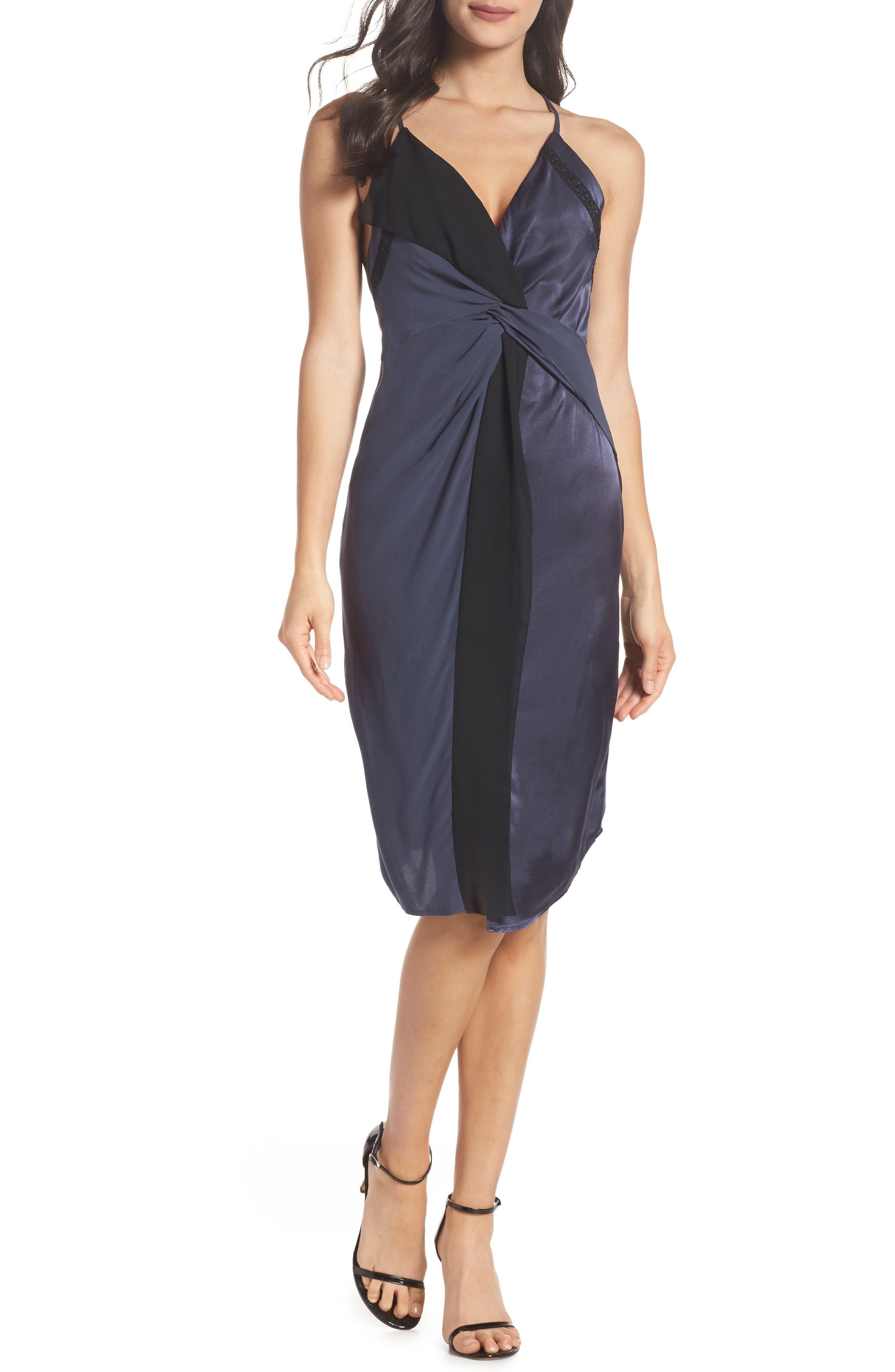 Twist Front Cocktail Dress,                         Main,                         color, BLACK/ NAVY