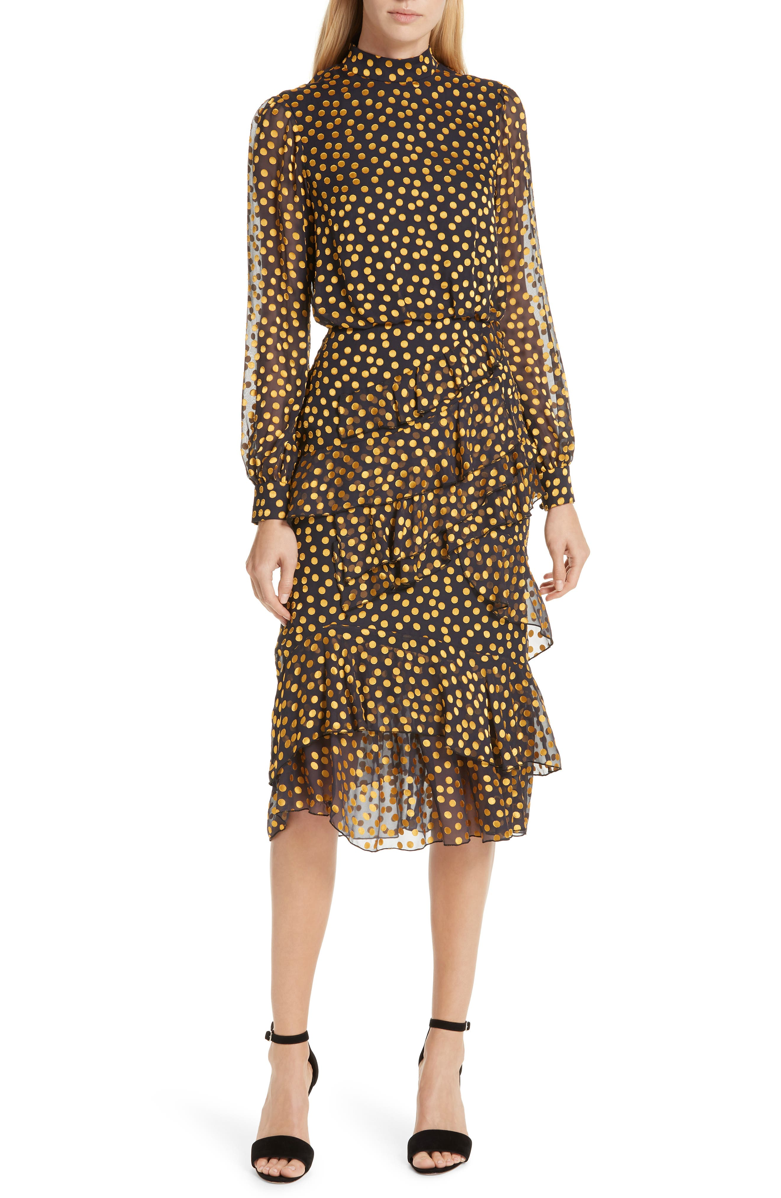 Isa Polka Dot Devoré Satin Dress,                         Main,                         color, BLACK/ YELLOW DOTS