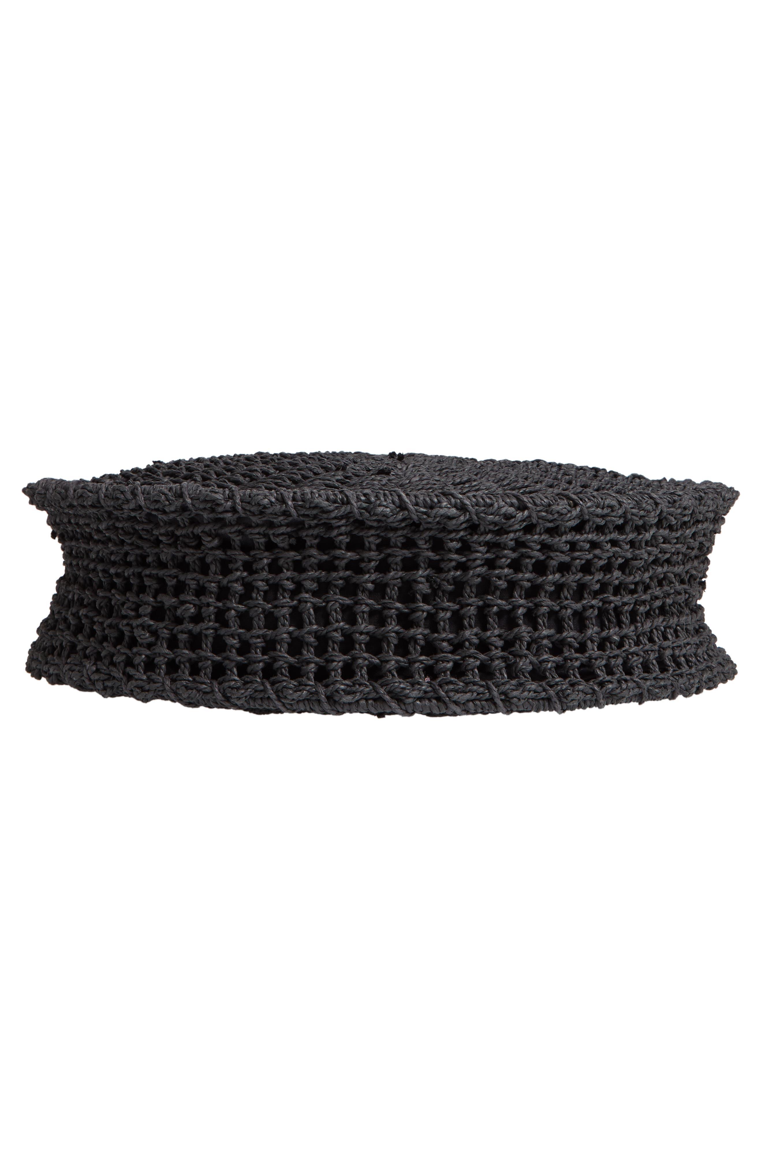 Bella Straw Circle Tote Handbag,                             Alternate thumbnail 6, color,                             BLACK
